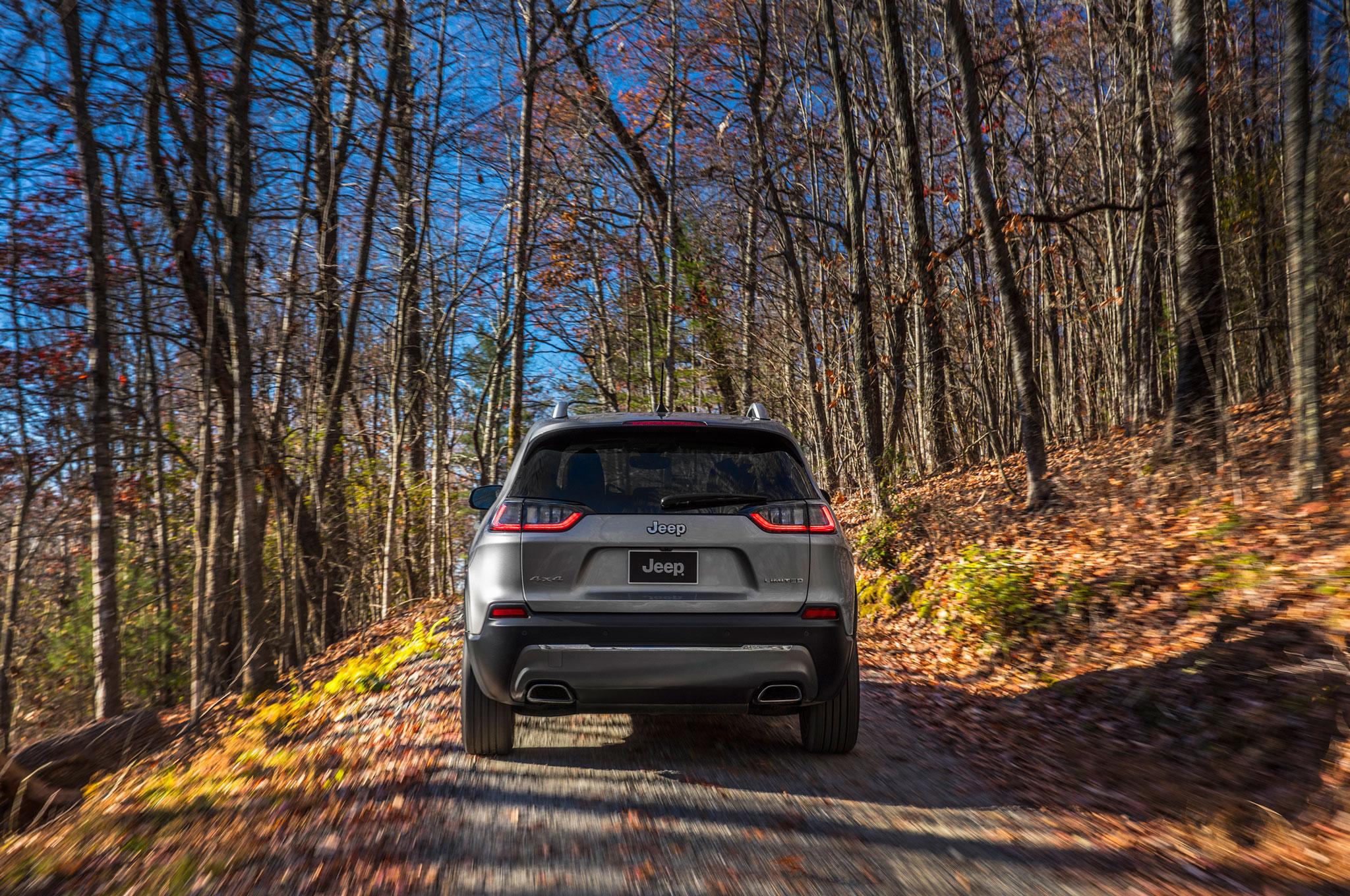 2019 Cherokee on road rear in leaves 2