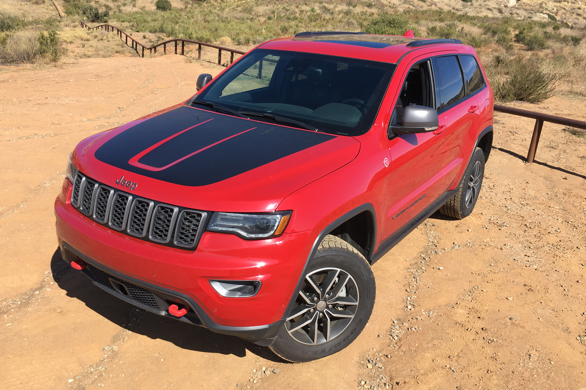 The Trailhawk-only hood treatment not only looks killer, the flat-black decal actually cuts down glare on the street or trail, improving driver visibility in high-light situations.