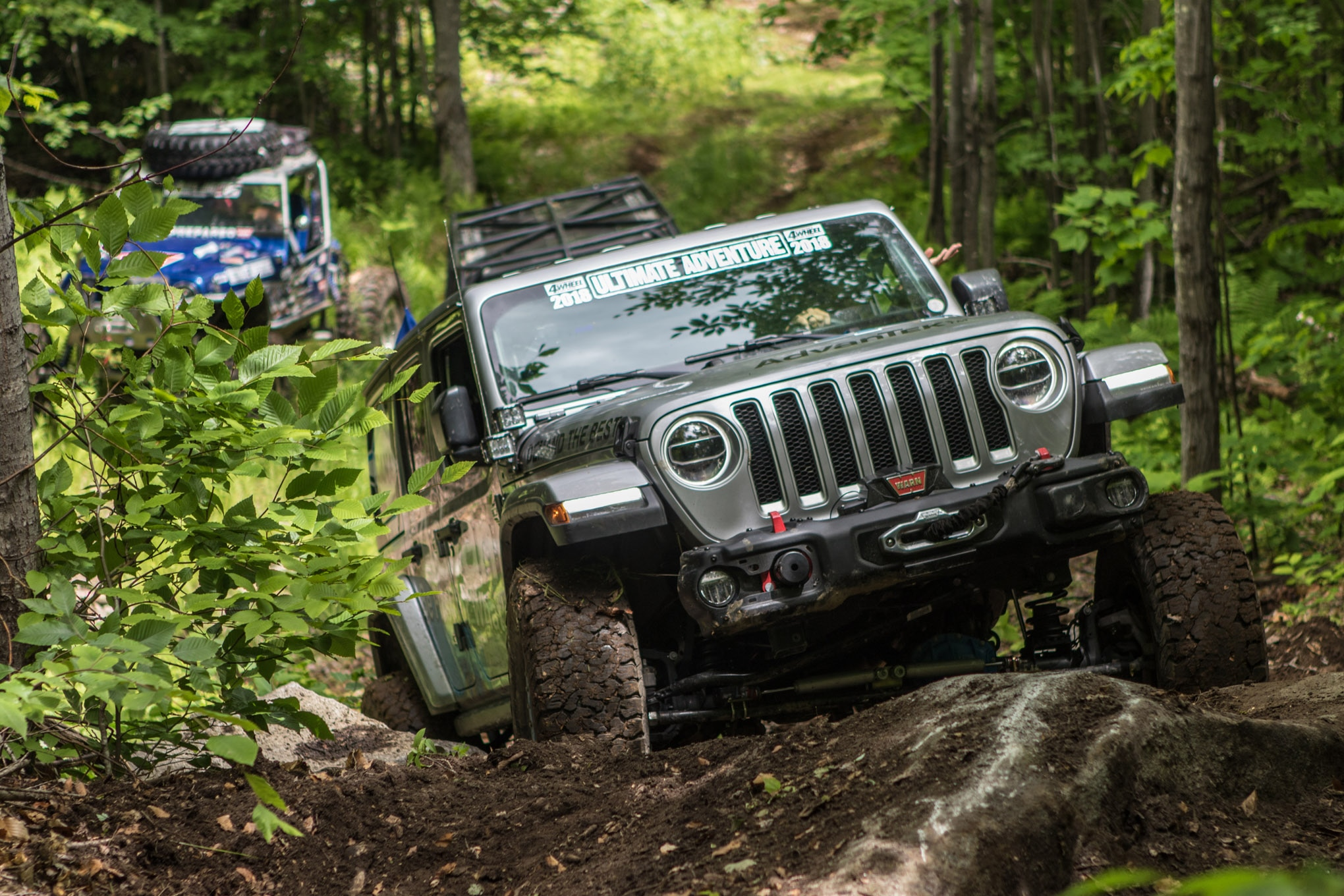 """JKs are so last year, so Dana brought a JL on this Ultimate Adventure! The 37-inch BFG All-Terrain tires were admittedly out of their element in the super-sloppy ground we encountered, but with some upper-level driving skills and the helpful spotting by his wife, Rachel, Dana's Randall """"Whiskey Throttle"""" Speir did an admirable job getting the company's brand-new Wrangler cleanly through the trails unscathed."""