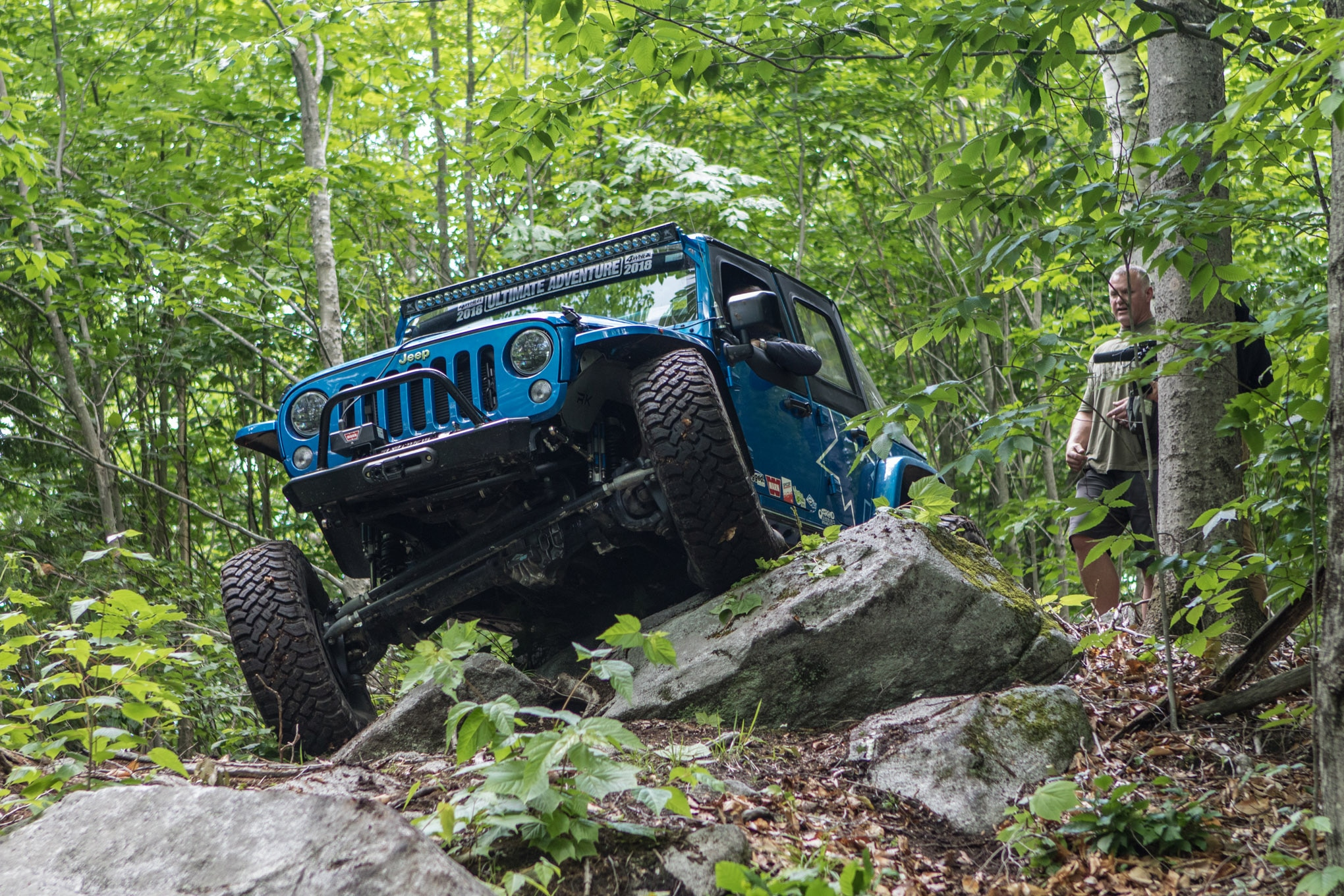 The trails in Bethel were representative of what we found all over New England: large rocks mixed with slick mud and surrounded by dense forests. Falken Tire rep Gerald Lee was driving a loaner Jeep that he'd picked up on the East Coast, but with a factory 3.6L Pentastar engine and Ultimate Dana 60 crate axles he couldn't really hurt it. Maybe that's part of the reason he had a huge smile on his face all week.