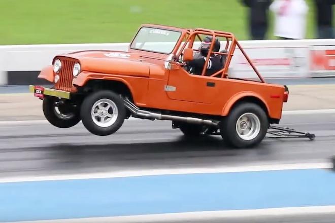 This 1980 Jeep CJ-7 Runs an 8-Second Quarter Mile & Wheelies - Video