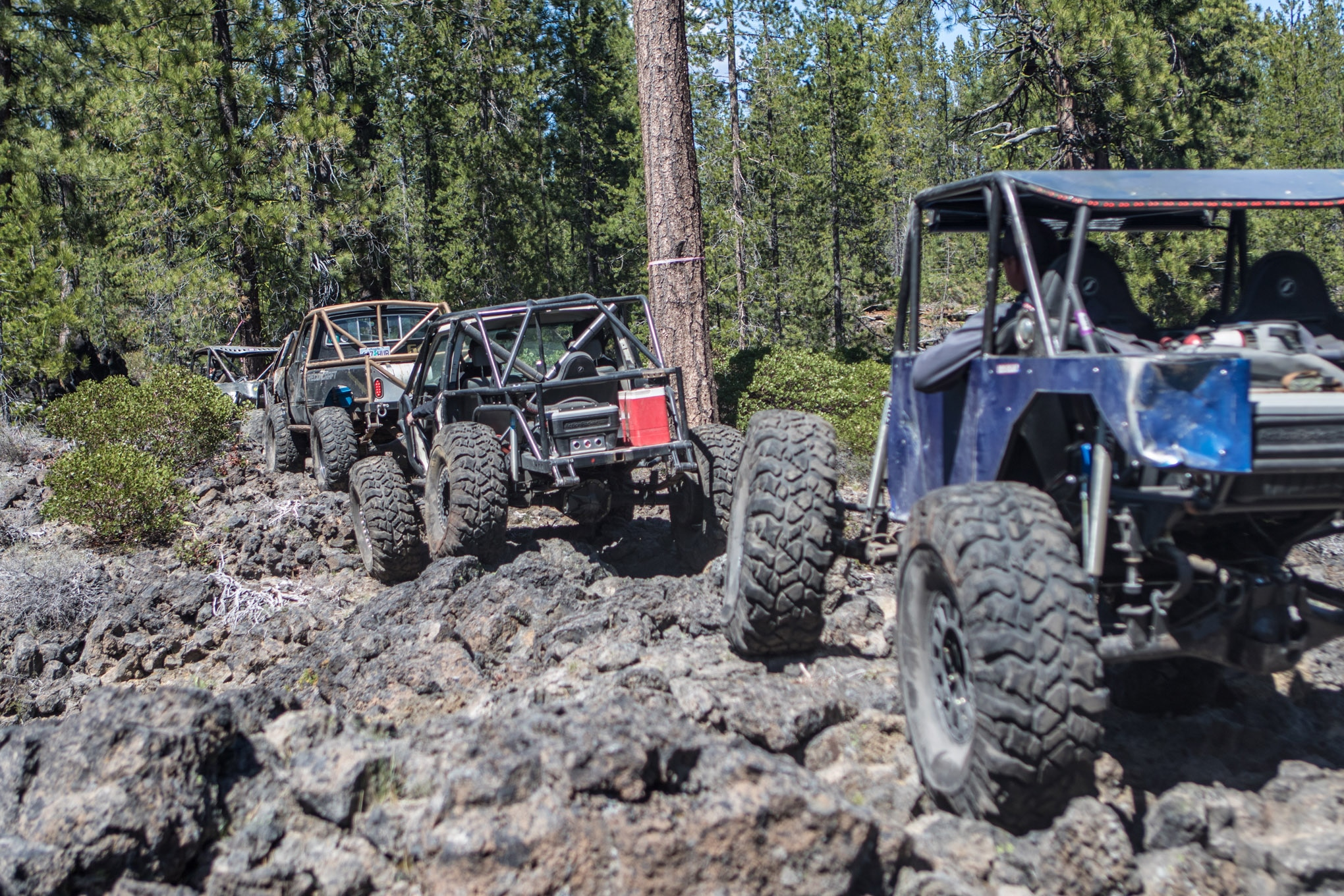 The Rim Butte Trail has numerous legs that cover 18 miles of trail. The trail is marked with flagging ribbon of different colors to denote the difficulty of the given route. Many obstacles are optional and can be bypassed, allowing vehicles and drivers of varying capabilities to spend the day together on the same trail.