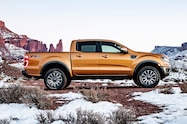2019 Ford Ranger side view in snow