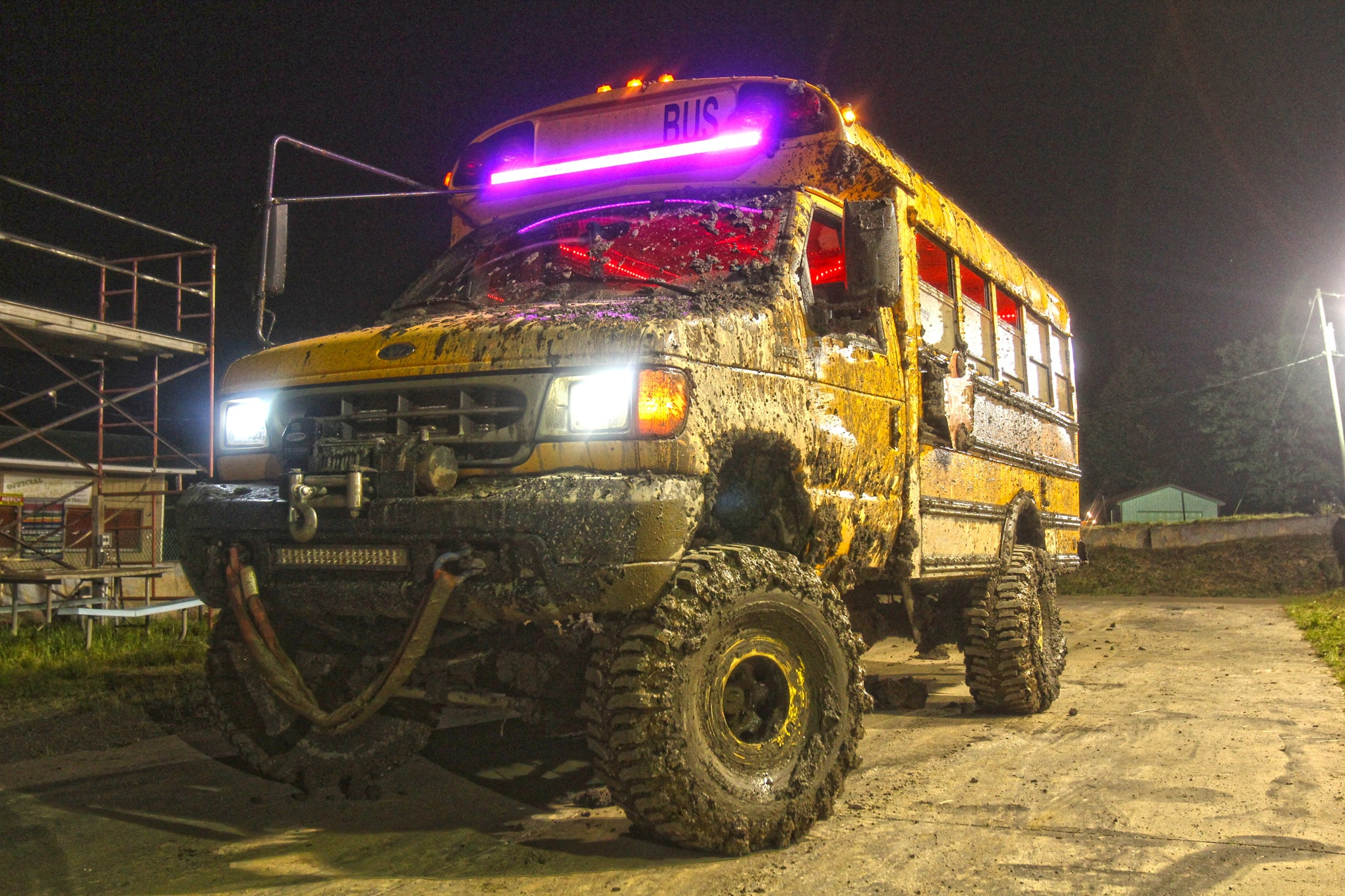 What initially looked like a short bus stuck in the mud was actually hiding much more underneath the bench seats and yellow paint. First off, it wasn't stuck—the 7.3L Powerstroke diesel kept the 39.5-inch Boggers turning and hungry for mud, and the 13,500-pound Superwinch remained untouched. The bus began life as a stock people-hauler, but with the addition of a Dana 50 in the front, a Sterling 10.5-inch axle in the rear, an 8-inch frame extension, the transmission from a '97 Ford F-250 Super Duty, and a transfer case from a '92 Bronco, it was ready to bog.
