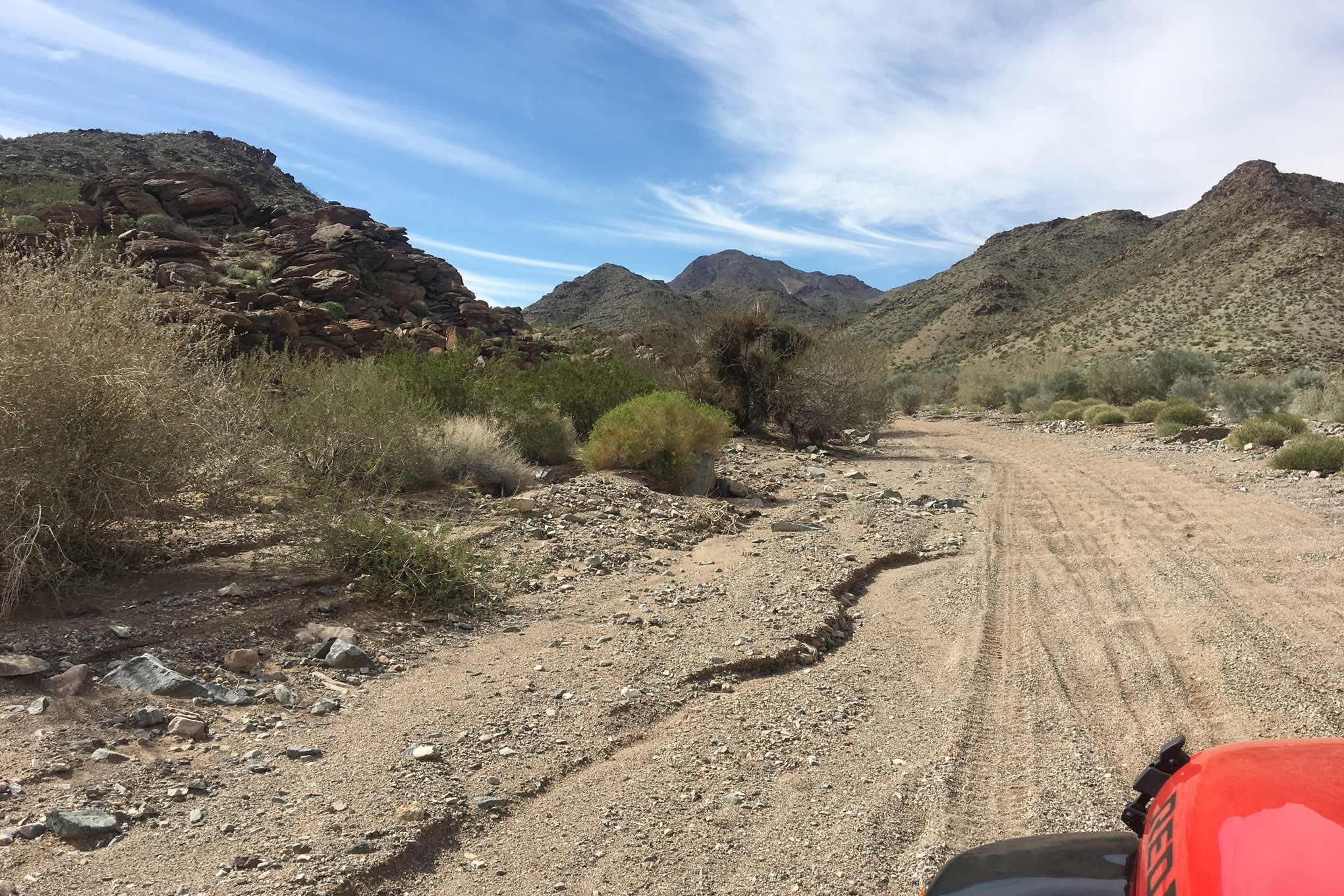 This road doesn't look that tough, but do this for 30 miles and then carefully feel your shocks. The constant vibration is friction that can cook weak shocks to death. Make sure your shocks are large enough capacity for your Jeep, and that they are in good shape before you leave.