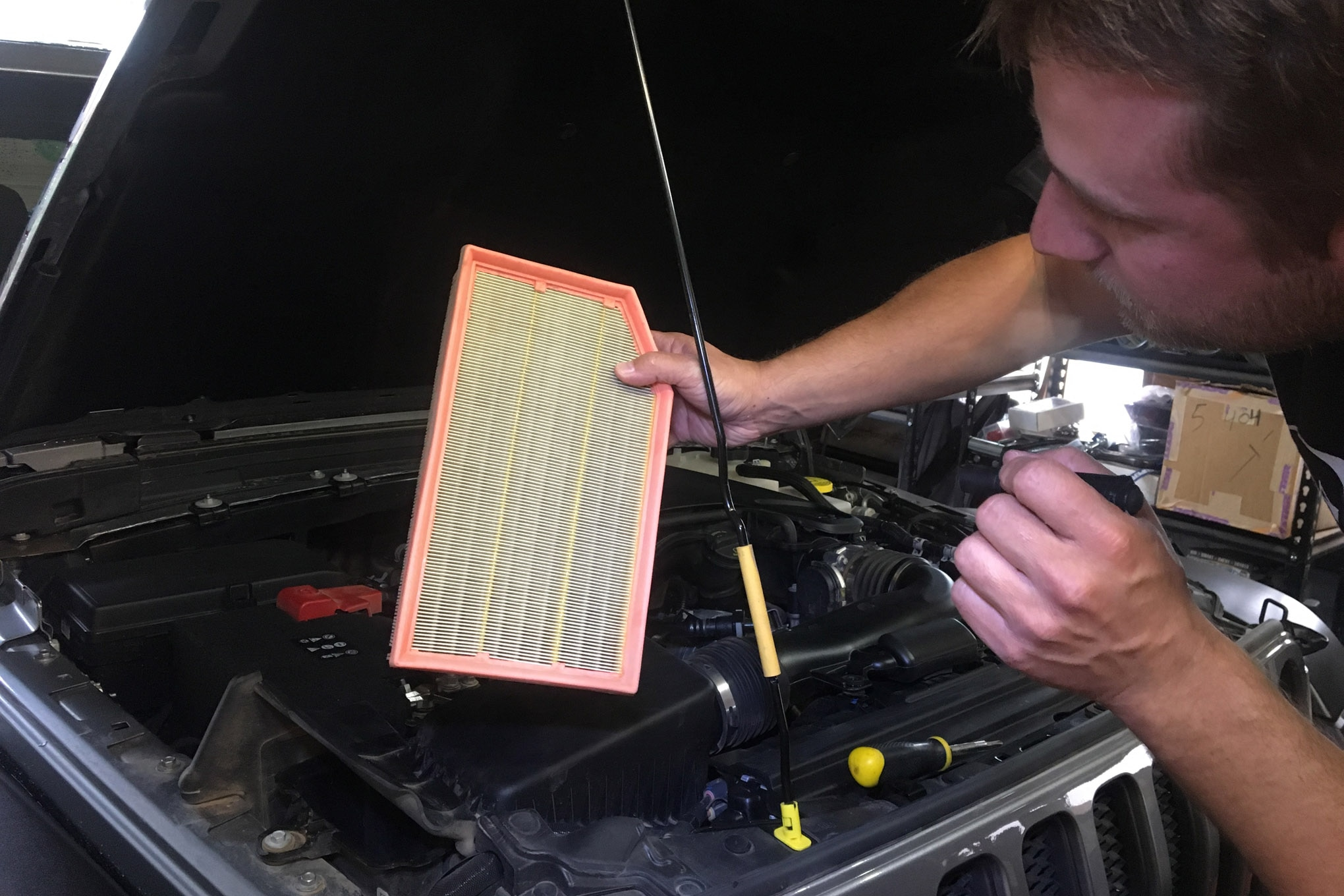 Air filter, cabin air filter, and oil filters should be clean to start a long trip. We often shake or blow out air filters mid-trip, too.