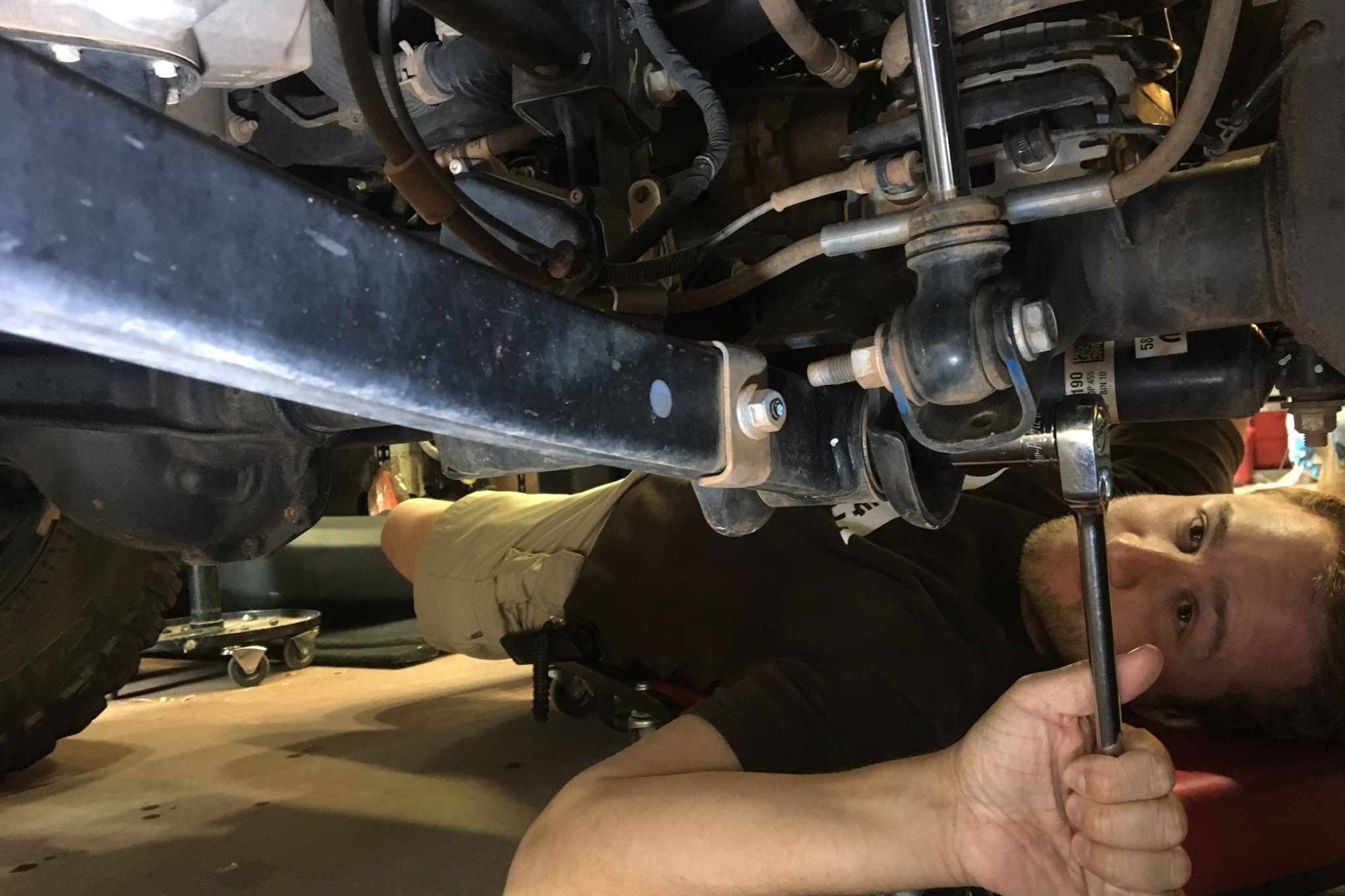 Don't just look at all of your bolts; torque them with a wrench. Sometimes things don't appear loose, but a mere quarter-turn can make a difference. Also, have a friend turn the steering wheel back and forth while you observe the bushing movement on track bars, control arms, and all steering components.