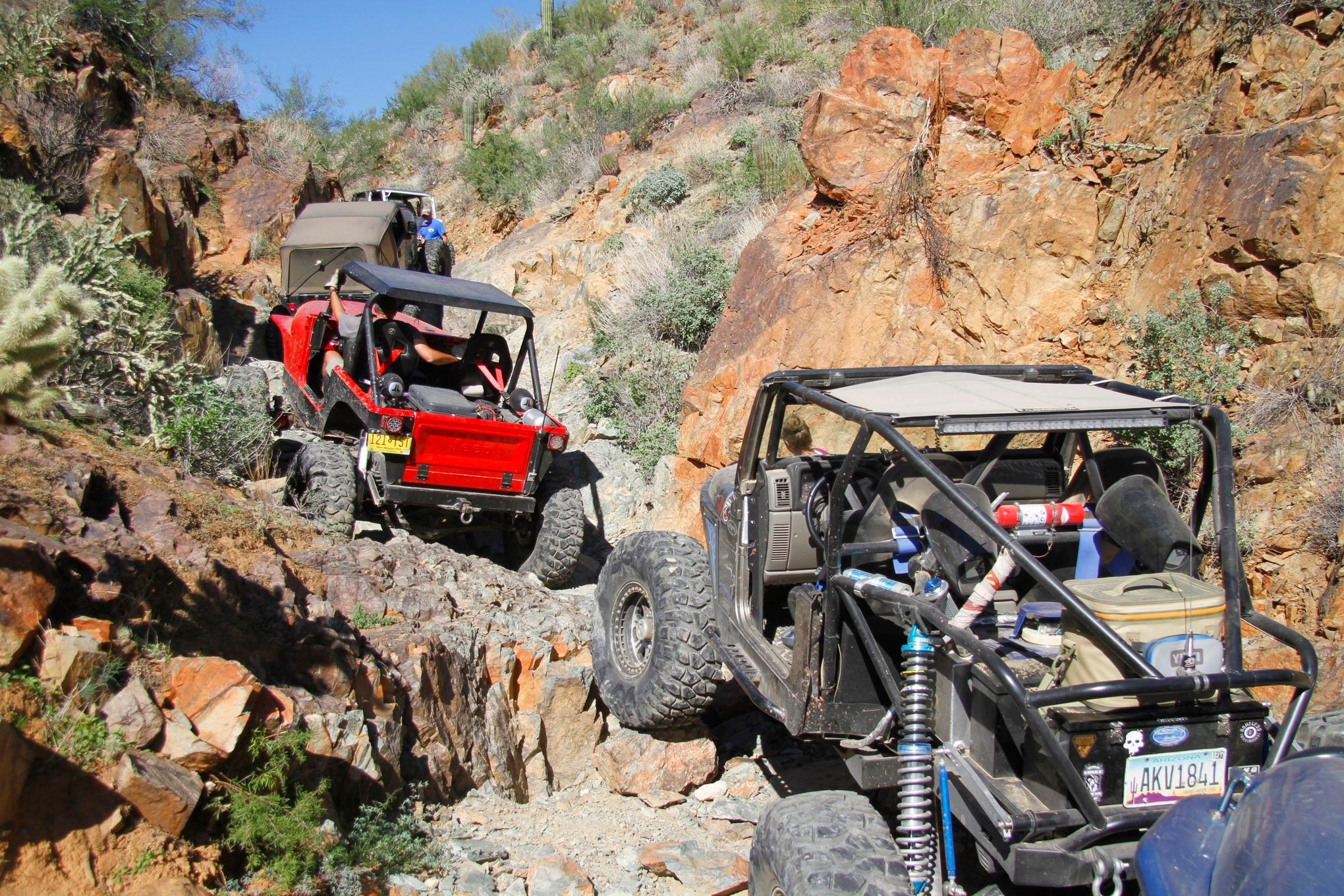 Like many southern Arizona rock trails, Collateral Damage meanders its way up a narrow wash that climbs in elevation, increasing the difficulty factor.