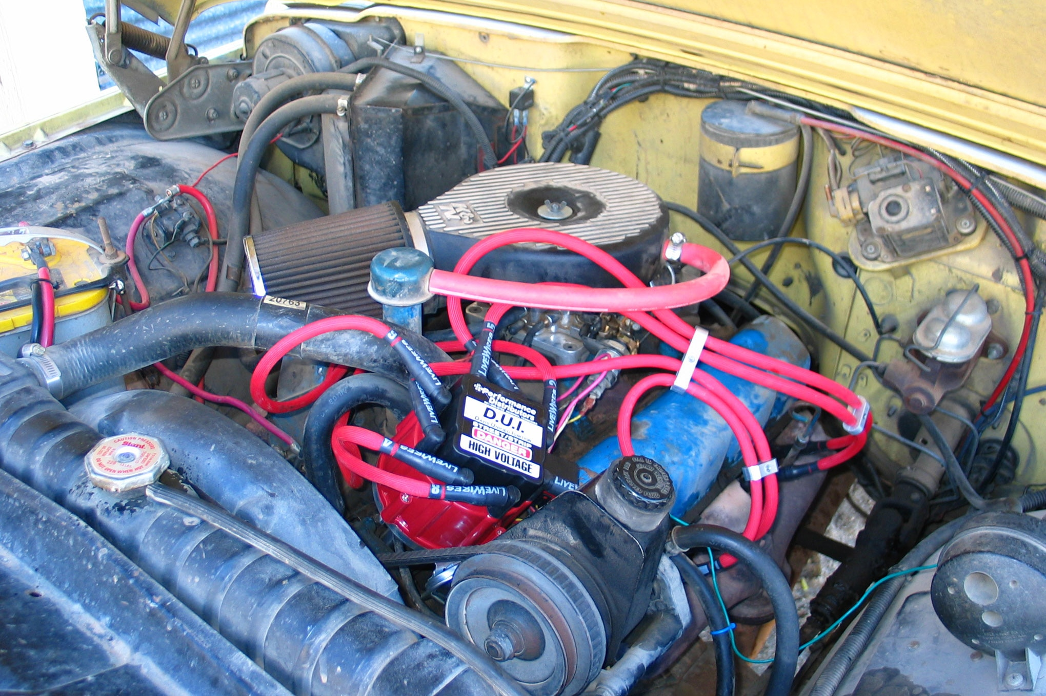 your jeep jeep j truck amc v8 360 401 engine bay under hood