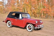 002 1951 willys overland jeepster soft top up mountain fall color