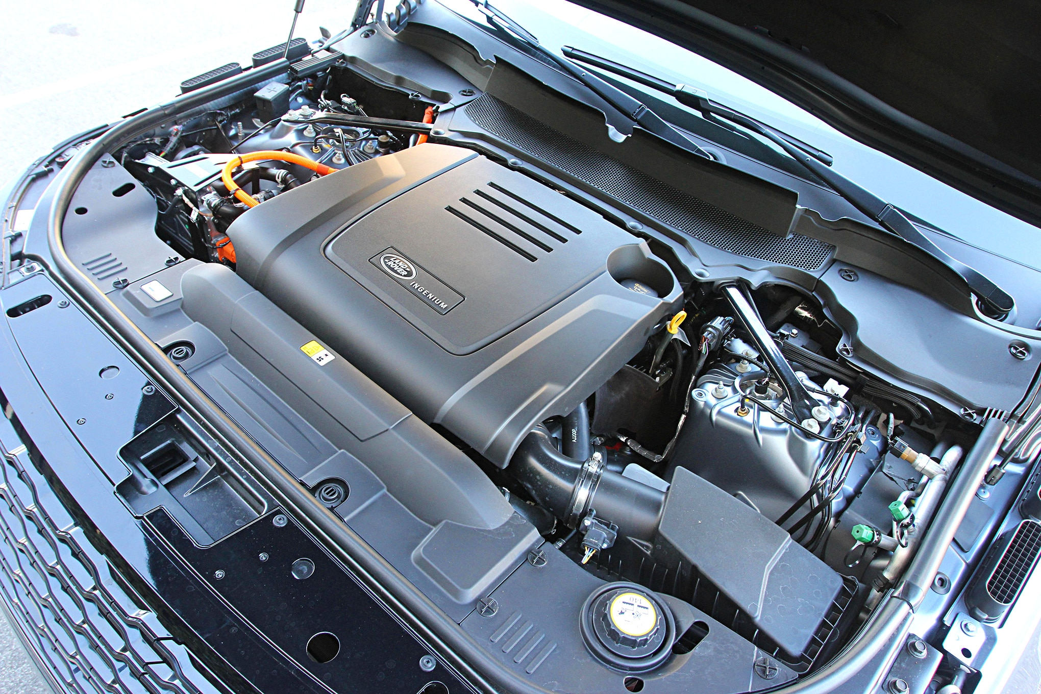 2019 suv of the year land rover range rover HSE P400e engine.JPG