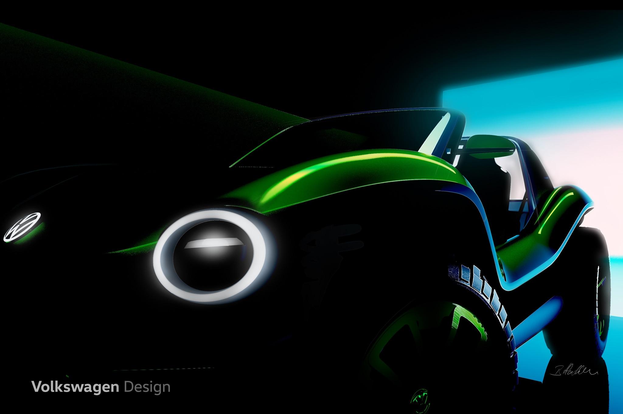 volkswagen electric dune buggy illustration teaser