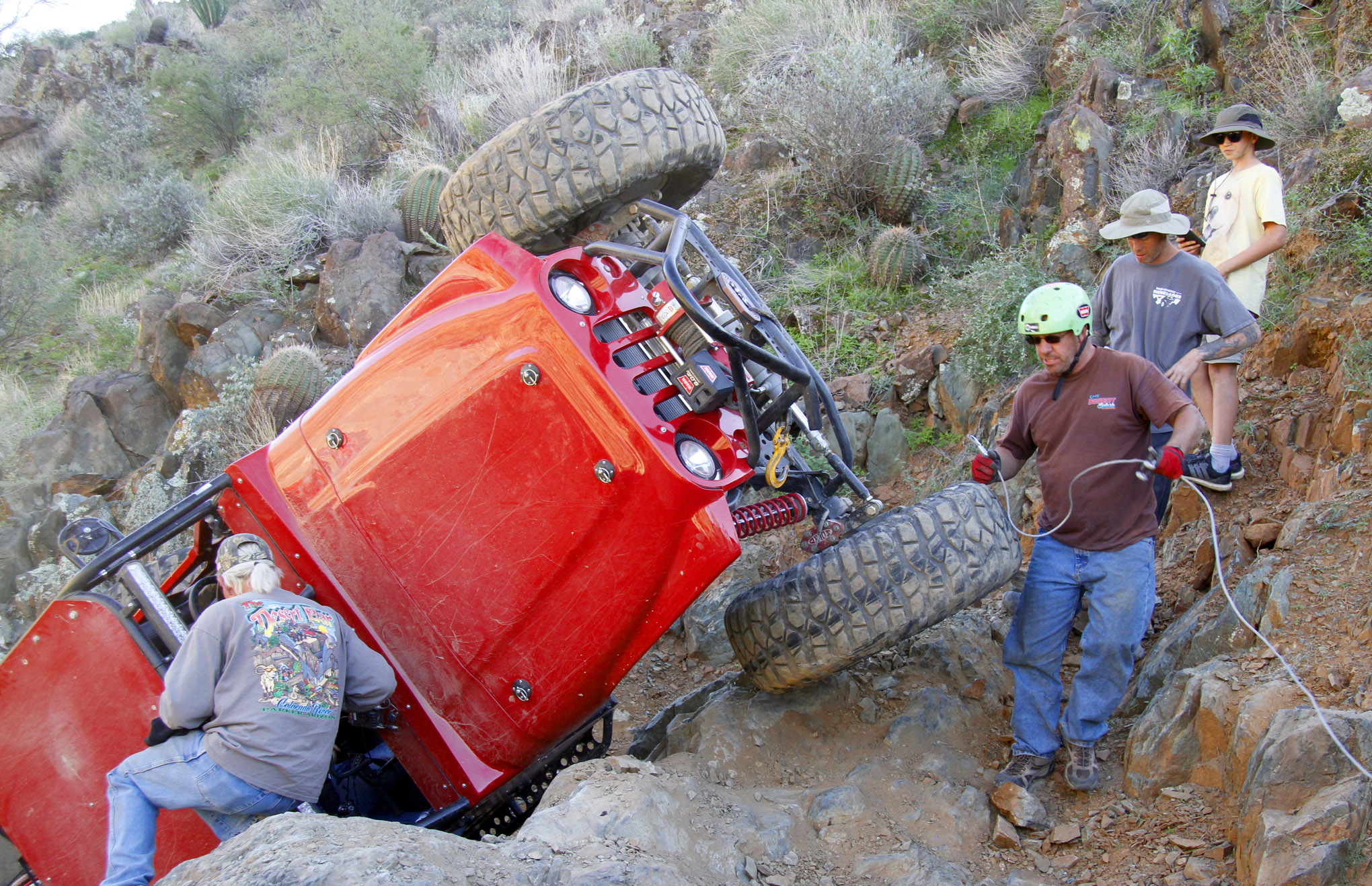 Greg and Stacey Johnson were playing on one of the side obstacles on Lower Terminator when gravity conspired to flop their Jimmy's 4WD buggy. A winch rescue ensued, and they were shortly back on all four tires to resume playing on the big-boy obstacles.