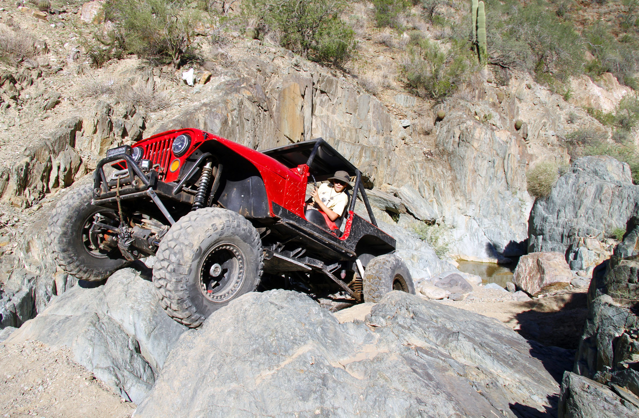 Max Werkmeister threads his dad's '83 Scrambler through Z-Turn on Lower Terminator. The classic Jeep has been linked front and rear, and it is built to crawl with a Mustang 5.0L V-8 under the hood, backed with an NP435 tranny and 4:1-geared Dana 300 transfer case.