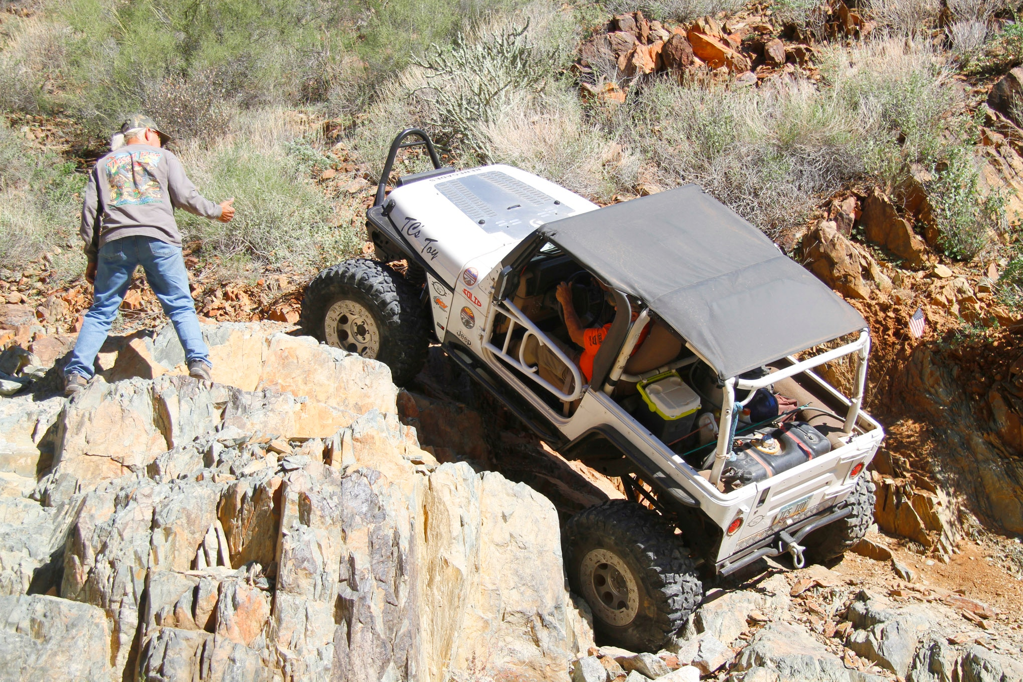 Thom Campbell is a skilled Jeeper, putting his 2001 Wrangler down a lot of Southwestern trails. Front and rear Dana 44 axles with Detroit Lockers serve him well on this stretched rig. Pit Bull Rockers on TrailReady beadlocks provide traction under a 5.5-inch Rubicon Express long-arm suspension.