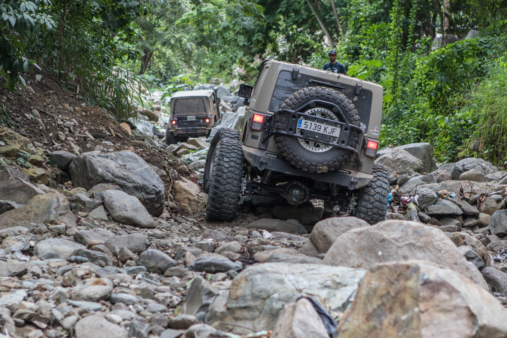 San Pedro Sula has a reputation as a dangerous city, but we found a rocky oasis in the shantytown bordering the city. Even with 42-inch BFGoodrich Krawlers, Jose Gayoso bent the lower links on his JK getting through this trail!