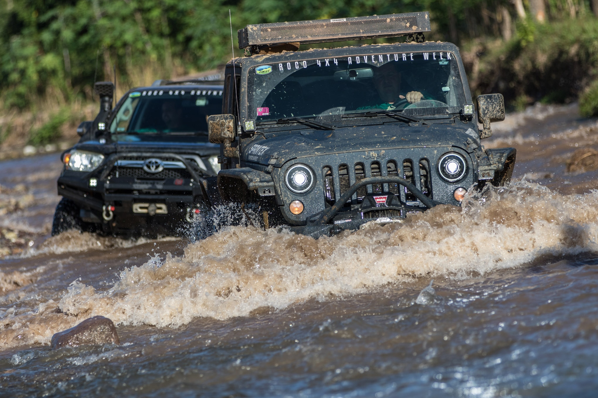 All of the rain swelled up creeks and rivers that were normally just a trickle, but at least the riverbeds were rocky and firmer than the mud we found in the jungle. Tyrone Jones was pushing water with the front bumper on his JK, but it was well below the air intake on the supercharged Jeep.