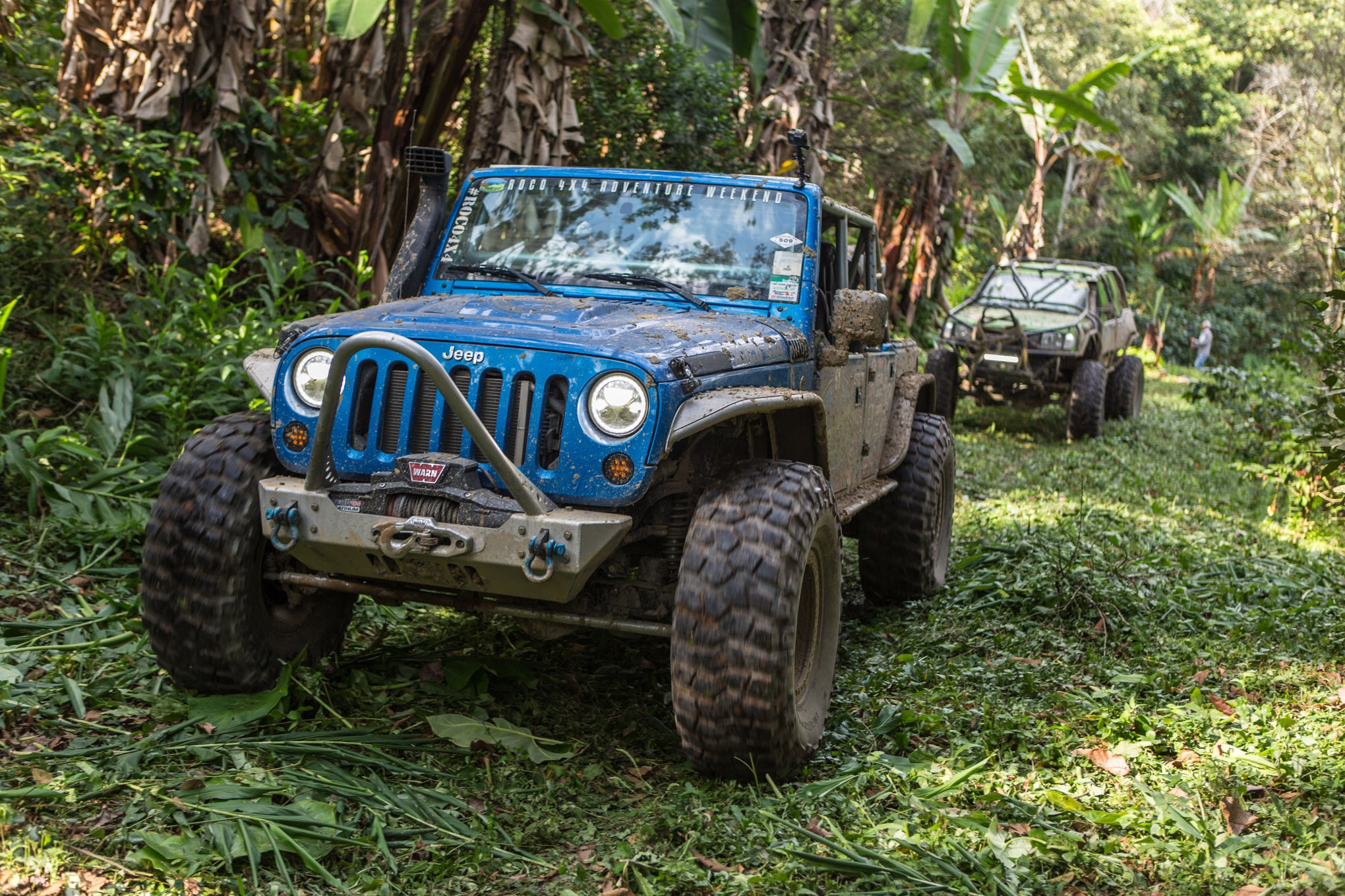 Rebeca Olavarrieta shared driving duties of her built JK with Sergio Pinillos from SpiderWebShade. The topless Wrangler was a popular choice on sunny days on the trail, but less so during rainy road days when passengers were scrambling for the hardtop Jeeps.