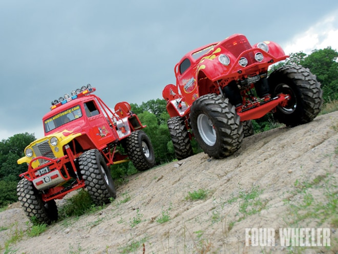 1952 Willys & 1937 Ford Classic Monster Trucks - Chariots Of Fire