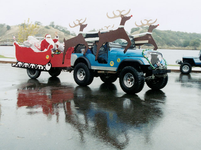 Jeep CJ5 As Santa Sleigh Photo - Rear View
