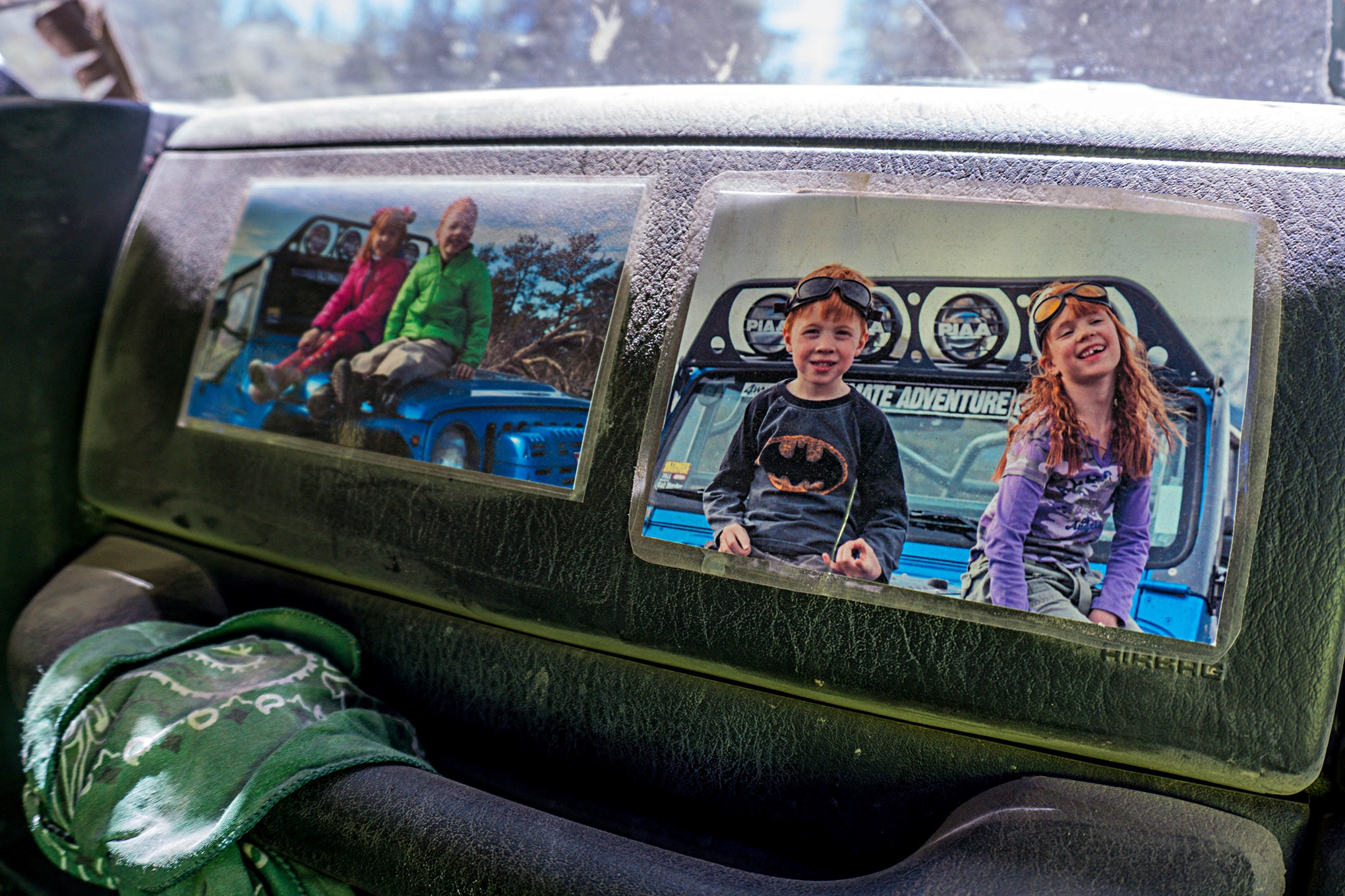 Clifton Slay has photos of his kids taped to his dash. He says that looking at the photos helps remind him to drive his Jeep sanely, which keeps the wrenching to a minimum for a week on the trail. Slay drove his LJ Wrangler all the way from Colorado to California and back for UA.
