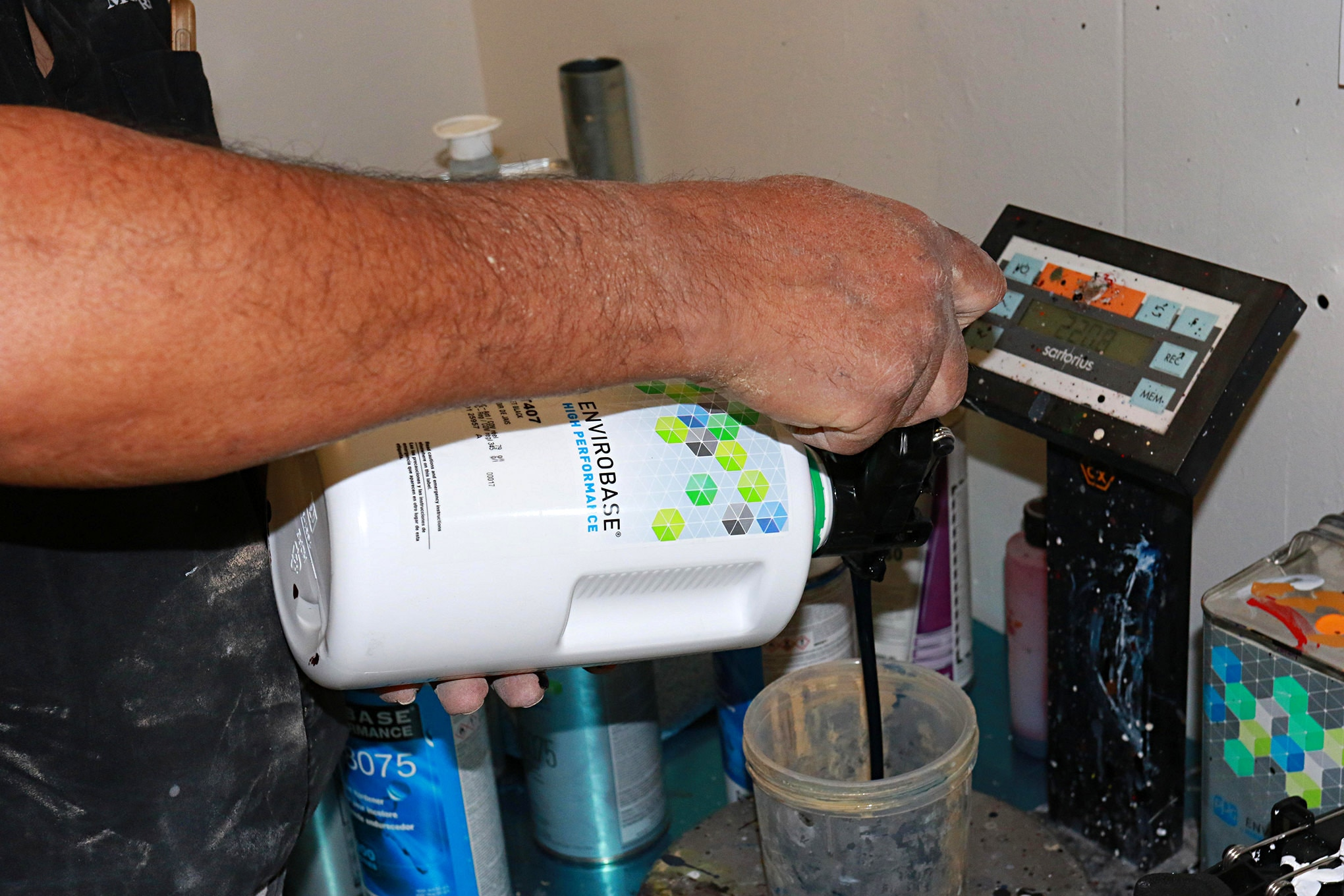Paint will be a factory two-stage, so careful weighing of the paint and activator is essential.