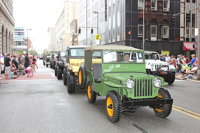 Historic Vehicles Invade Toledo Ohio for the 75th Anniversary of Jeep