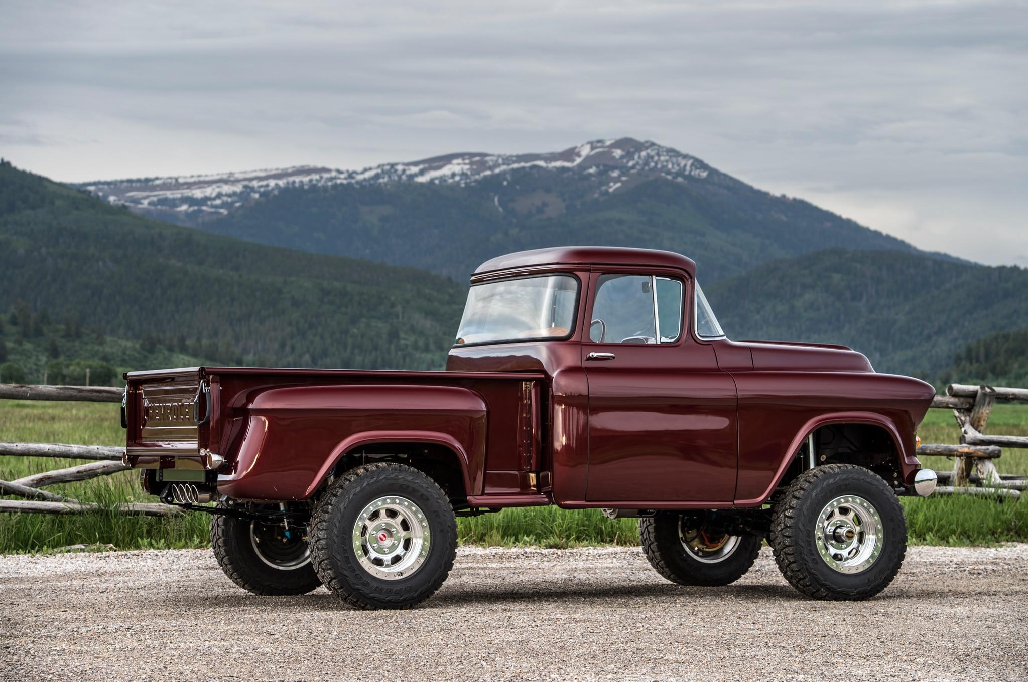 1957 chevrolet task force napco legacy classic trucks rear three quarter
