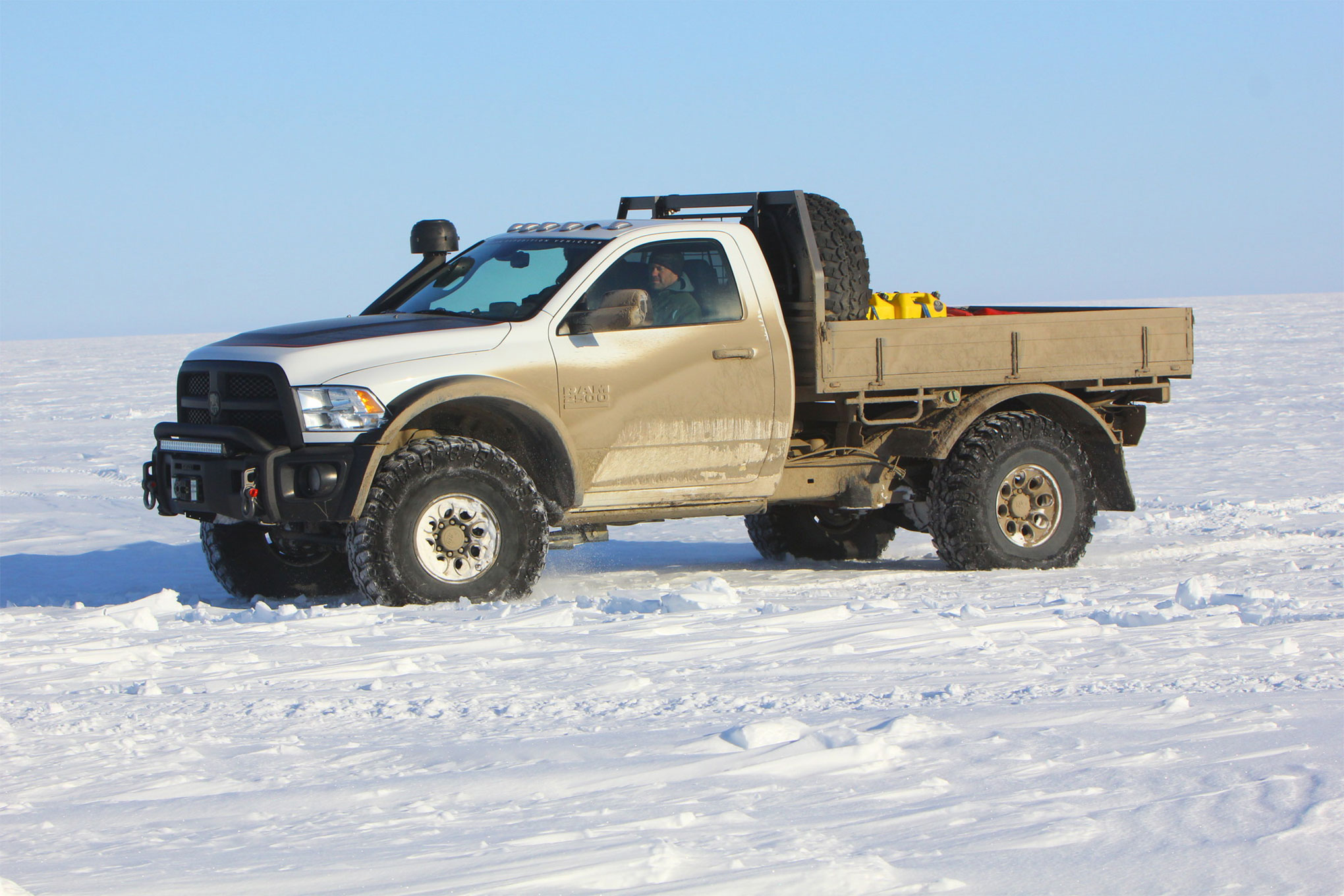 The regular-cab, tray-back truck was our favorite from the trip. It was lighter and nimbler than the bigger crew cabs, and the manual transmission meant it was more fun to drive. The slightly larger Irok tires would float over the snow, and the truck just felt at home exploring wherever we pointed it. If it looks familiar, it should. It was our cover truck of May 2015.