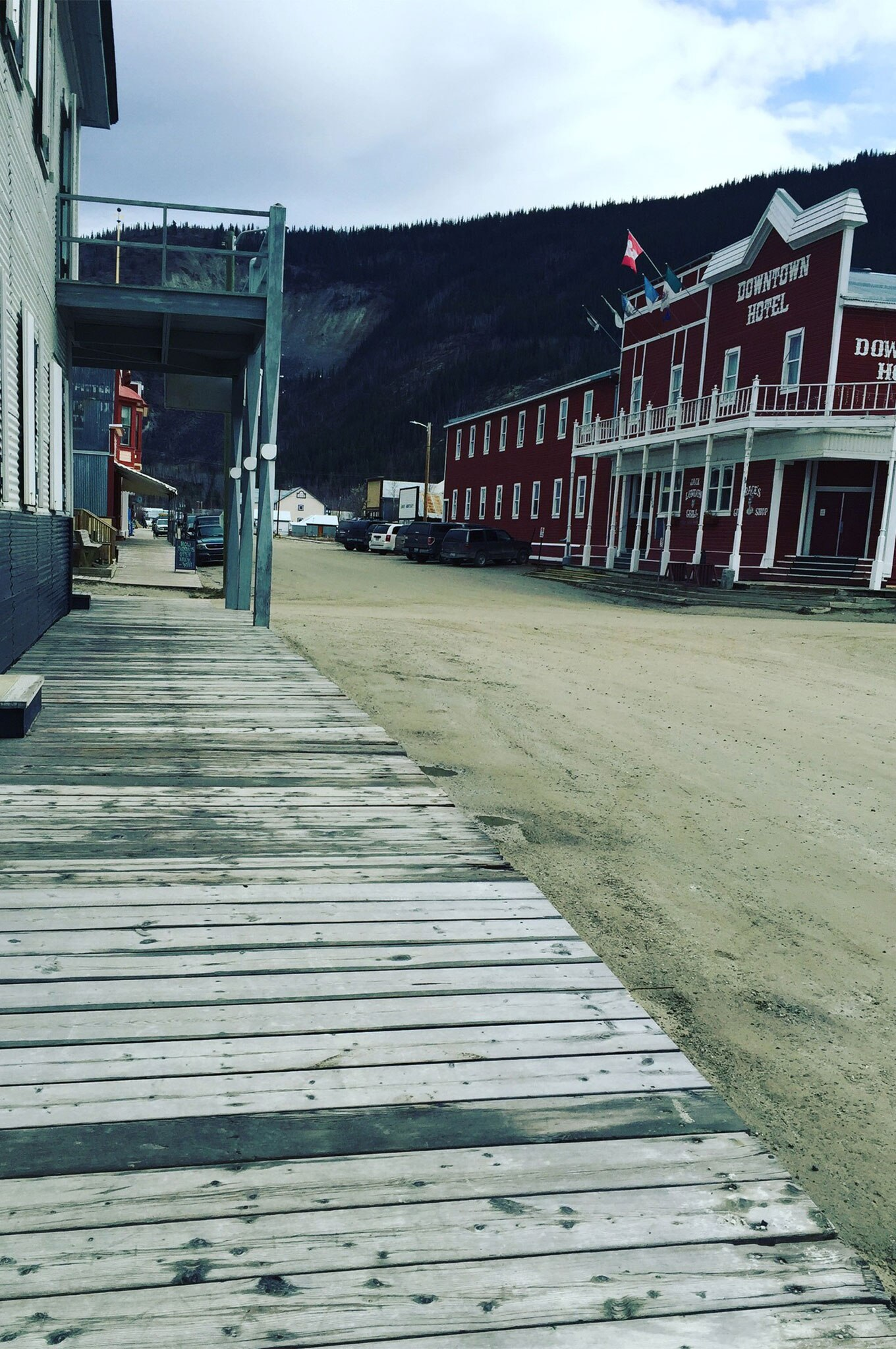 The Wild West feel of Dawson, with raised wooden sidewalks and brightly painted buildings, was reminiscent of old cowboy movies.