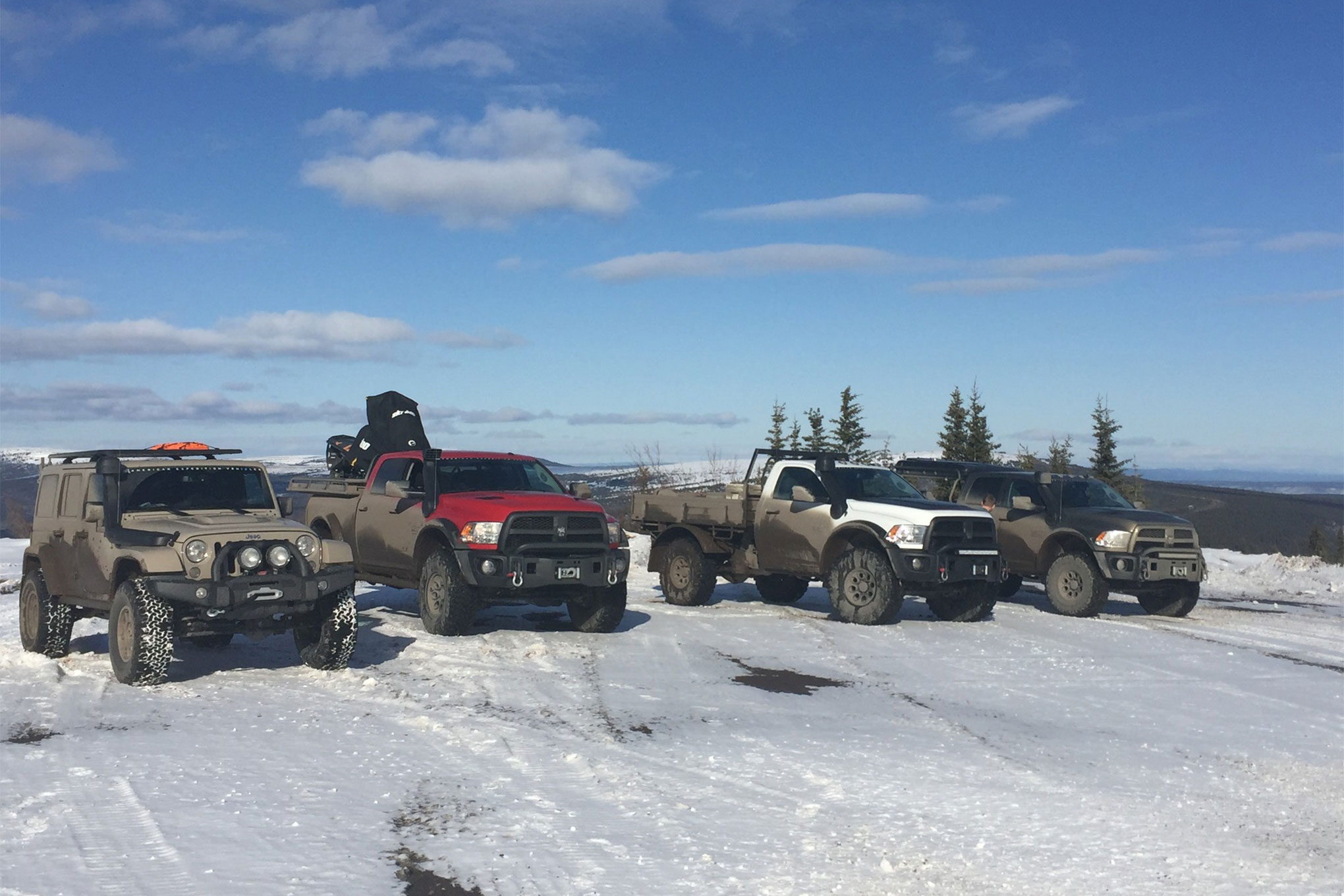 The group of vehicles included three Cummins diesel Ram trucks. Two of them were outfitted with AEV's Prospector package, and one of those was a tray-bed regular cab truck. The third was a Hemi V-8 powered Jeep Wrangler Unlimited. The group of eight guys and four 4x4s convened in Whitehorse, Canada, as the jumping-off point for the trip to Tuktoyaktuk (Tuk). This meant that the AEV team had already driven 1,800 miles from Missoula, Montana, where the company is headquartered. Suffice it to say they were already testing the comfort of the AEV-stitched Ram and Jeep seats.