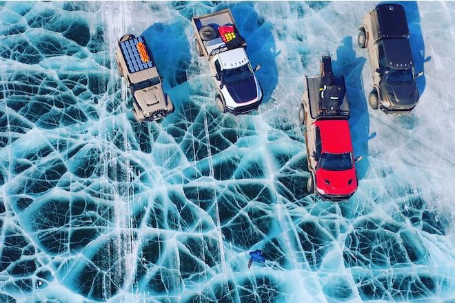 AEV Trucks on the Ice Road