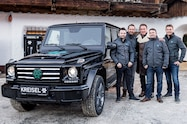 arnold schwarzenegger kreisel electric g wagen group shot vehicle close