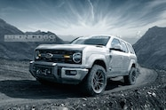 2020 ford bronco four door front quarter low silver
