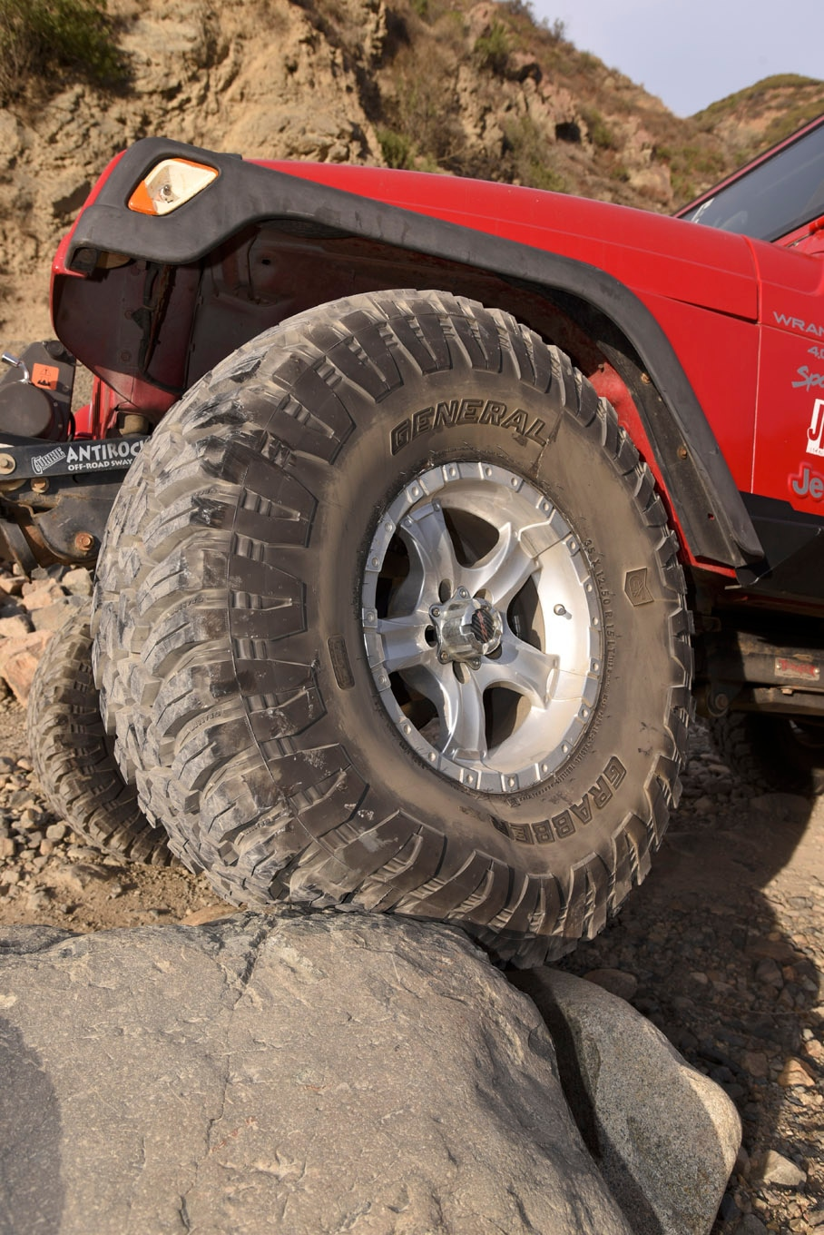 We like to keep our wheels at about half the diameter of the tire to be run (20s for 40s, 17s for 35s, and 15s for 30s), although we often run 15s on 35s. This simple formula seems to work out well, keeping the sidewall tall enough to be flexible off-road, but not squirmy on the highway.