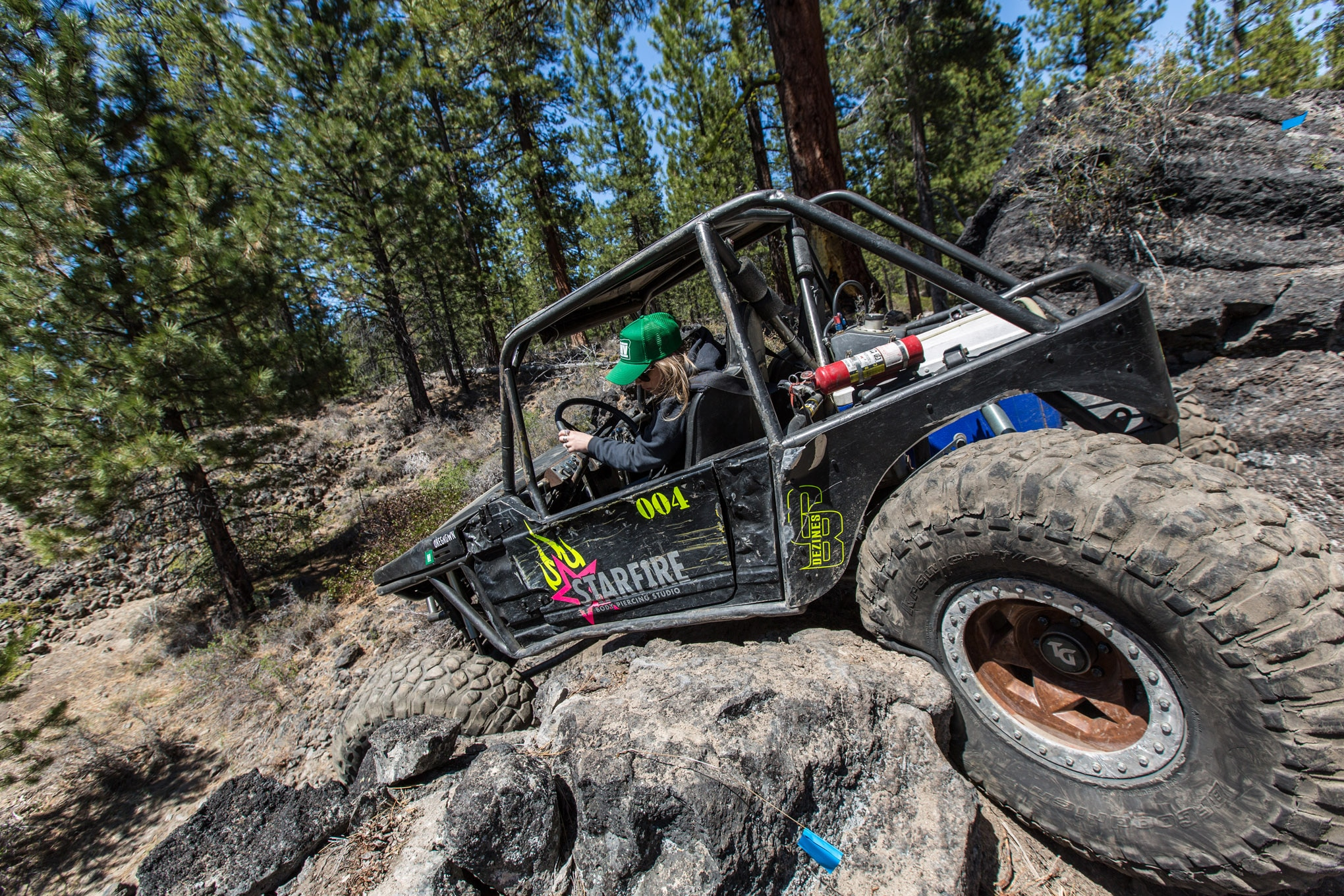 Kaitlin Tyde's well-used Samurai buggy has front- and rear-steering 9-inch axles with Dana 60 knuckles. A turbo 1.6L is lightweight yet makes enough power to spin the sticky 39-inch BFGoodrich Krawlers on Trail-Gear Creeper wheels.