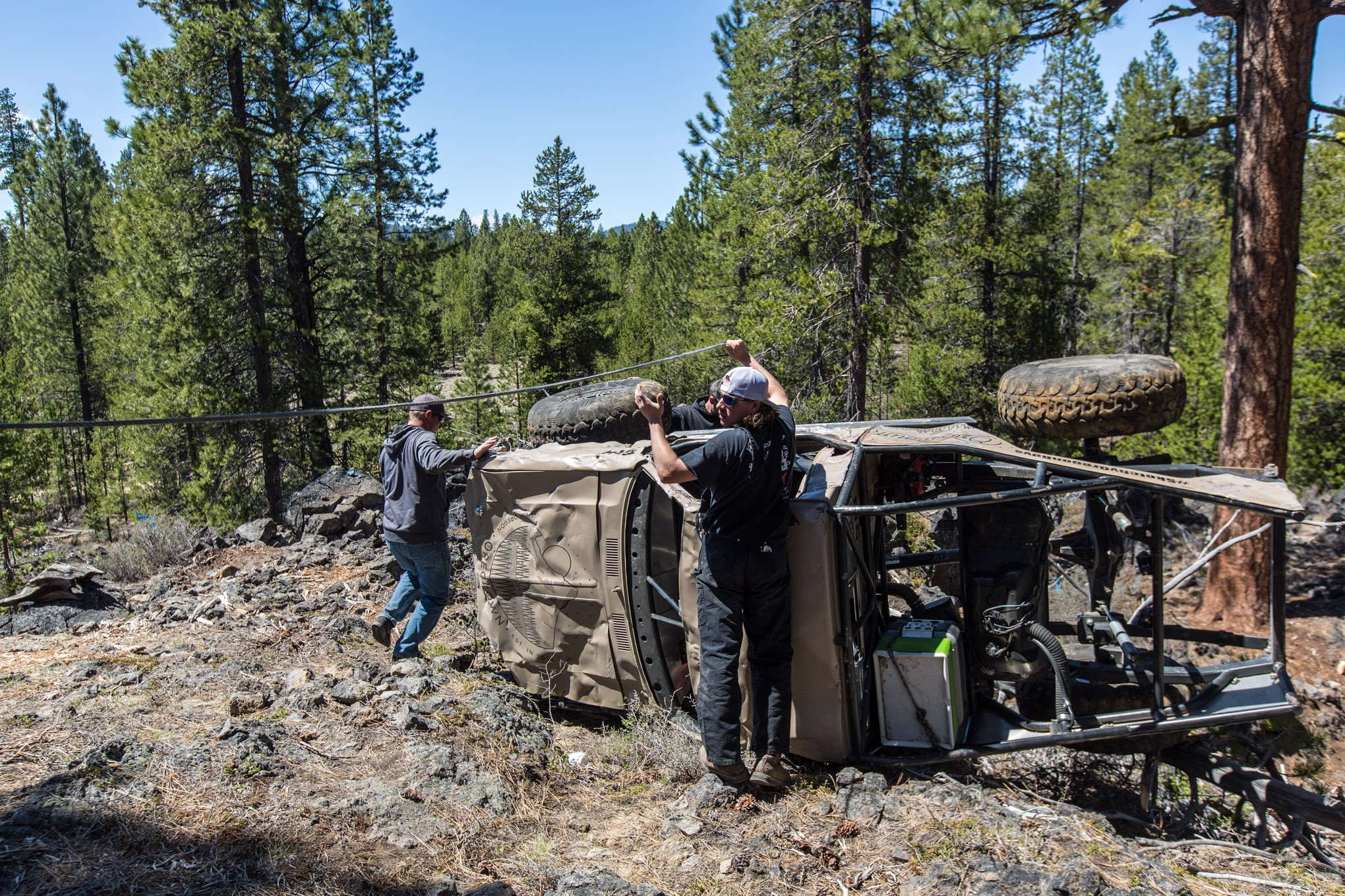 Cody Reems was taking high lines over obstacles all day long. How do you know where the limits are if you never find them? While he didn't break anything on the trail, Reems did flop his truck on its side at one point in the day. A quick tug was all that was necessary to get him moving again.