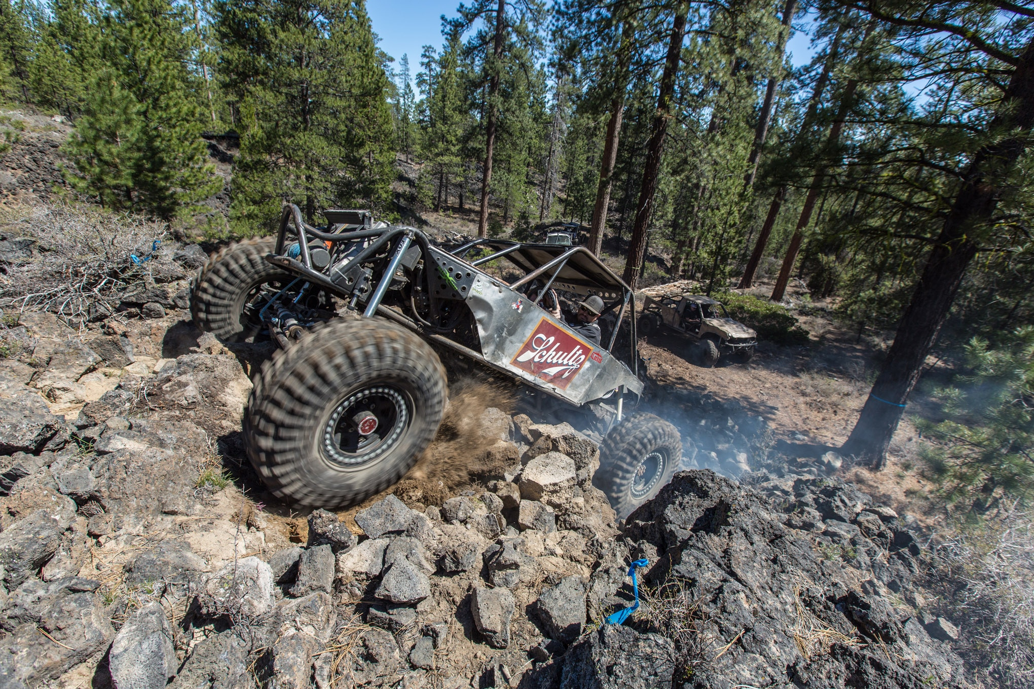 Mark Schultz has the formula for a functional Oregon rockcrawler. A turbocharged 22R is mated to a manual transmission and dual transfer cases. From there, air shocks and links locate locked 1-ton axles capped with 40-inch Maxxis Trepadors. With a skilled driver like Schultz behind the wheel this is an incredibly capable combination.