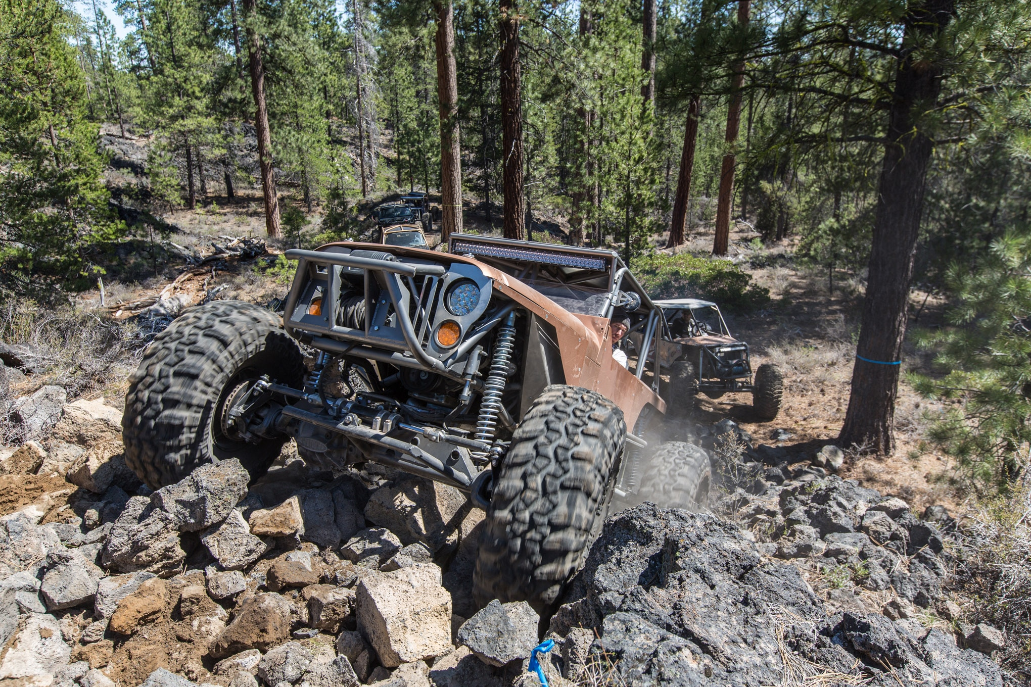 This was the maiden voyage for Chris Bradford's new Jeep buggy, and he was all smiles. Power comes from a 5.3L V-8 mated to a TH350 and NP205 with a 3:1 LoMax kit from JB Conversions. While it looks like a Jeep, the narrowed YJ tub is placed on a full tube chassis and fitted with a modified JK hood.