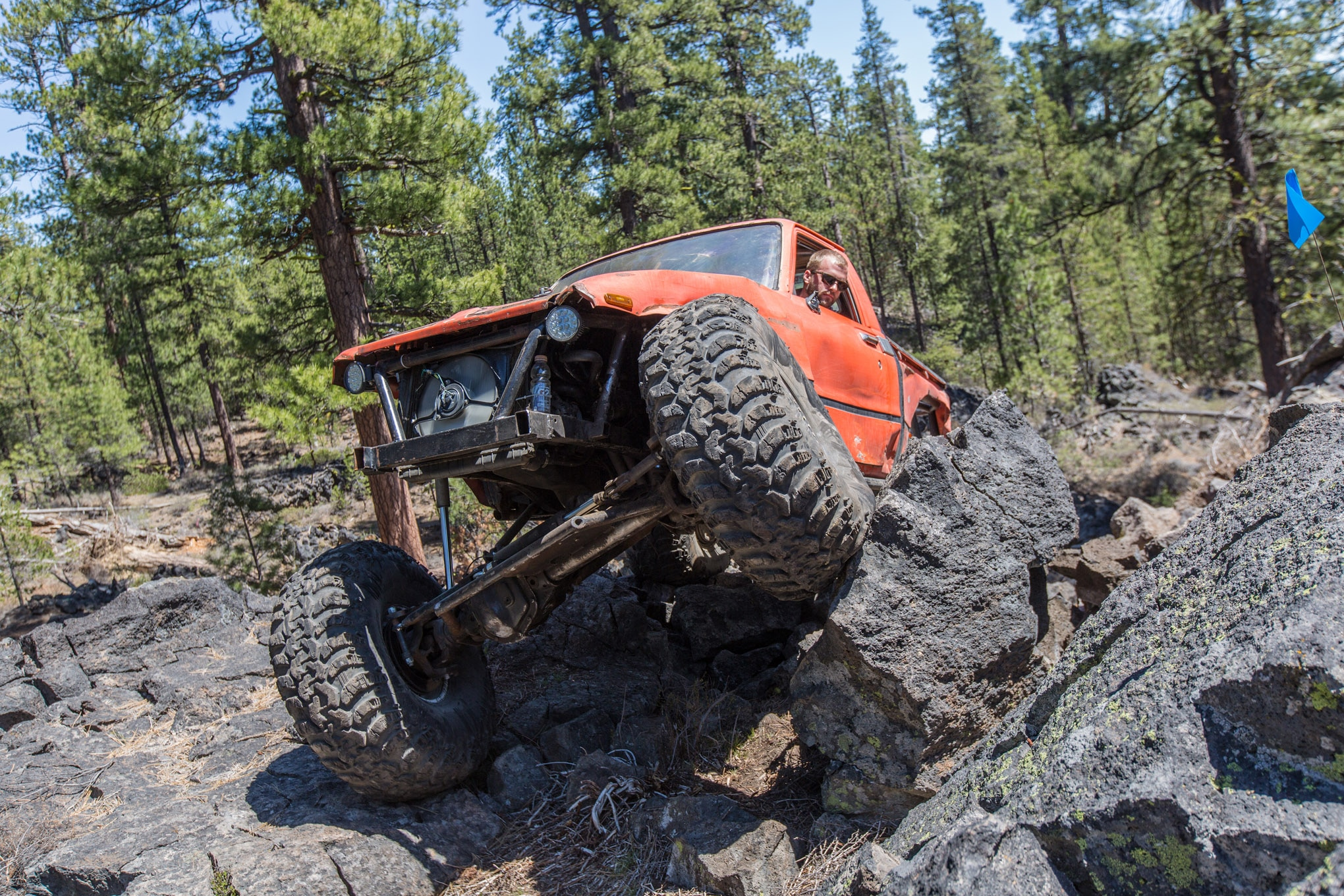 Cameron McGillivray's Toyota pickup looks like an RC car with its huge 42-inch Super Swamper Iroks mounted on 15-inch wheels. The original 22R four-cylinder engine pushes the whole thing down the trail, but dual transfer cases and 1-ton axles have been added to offset the big Swampers.