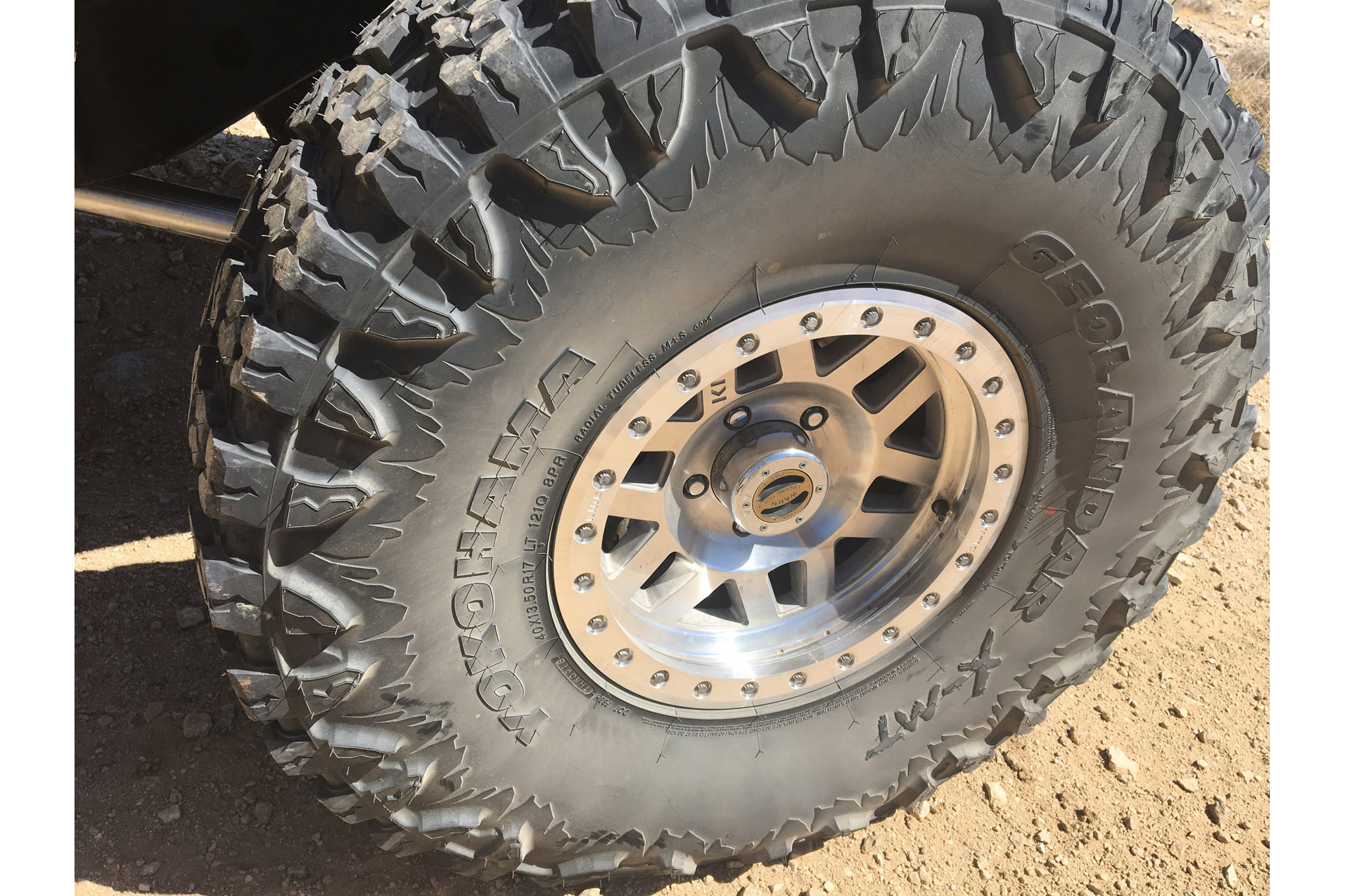 The unique sidewall treatment helps with the gritty look of a true off-road tire. The whole tire is designed with a triple polymer blend of rubber with lots of nano-carbon black for more cut and chip resistance. We'll let you know how much more when we get a set on our own Jeep for testing.