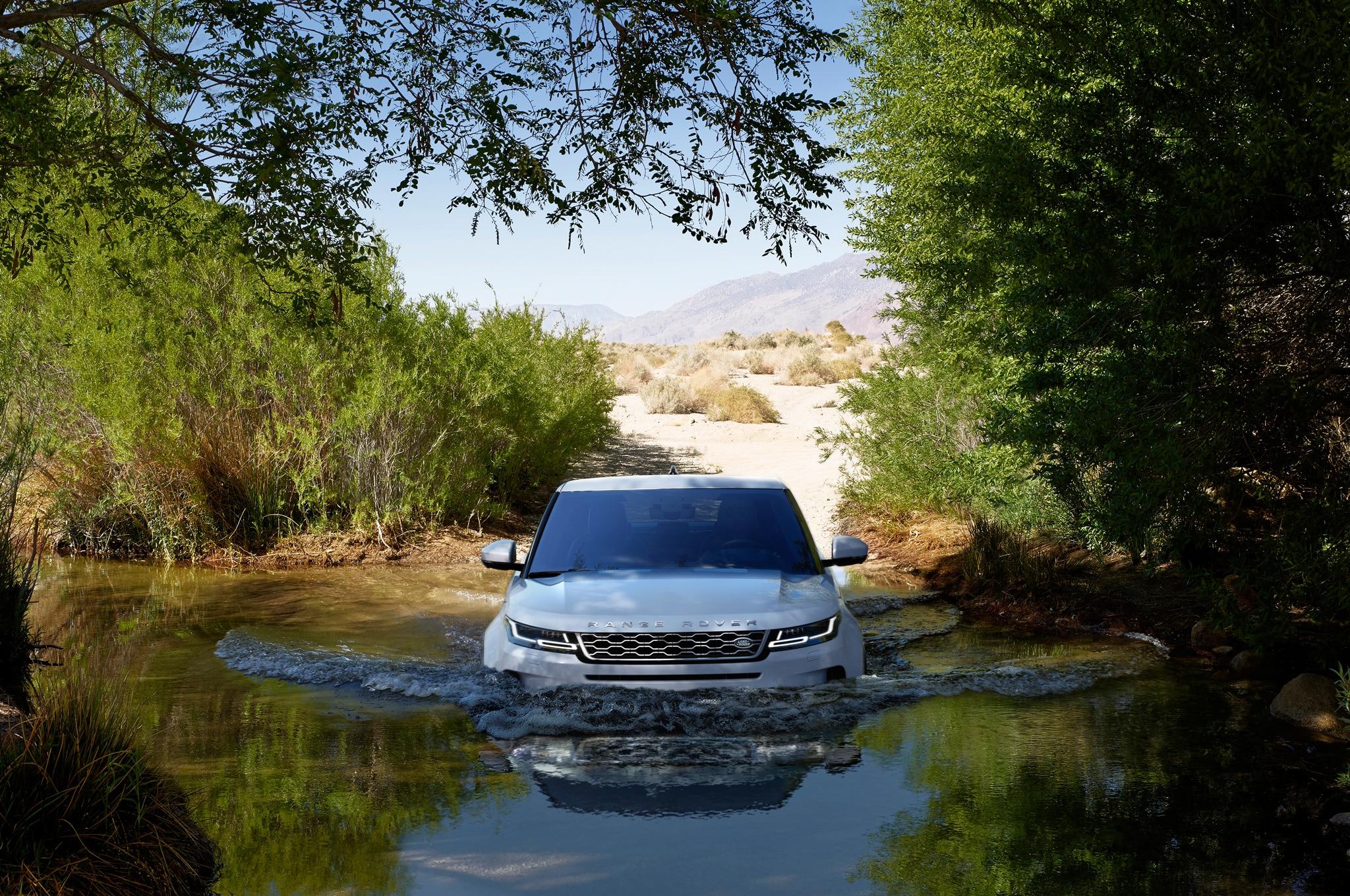 2020 range rover evoque exterior off road front view 01