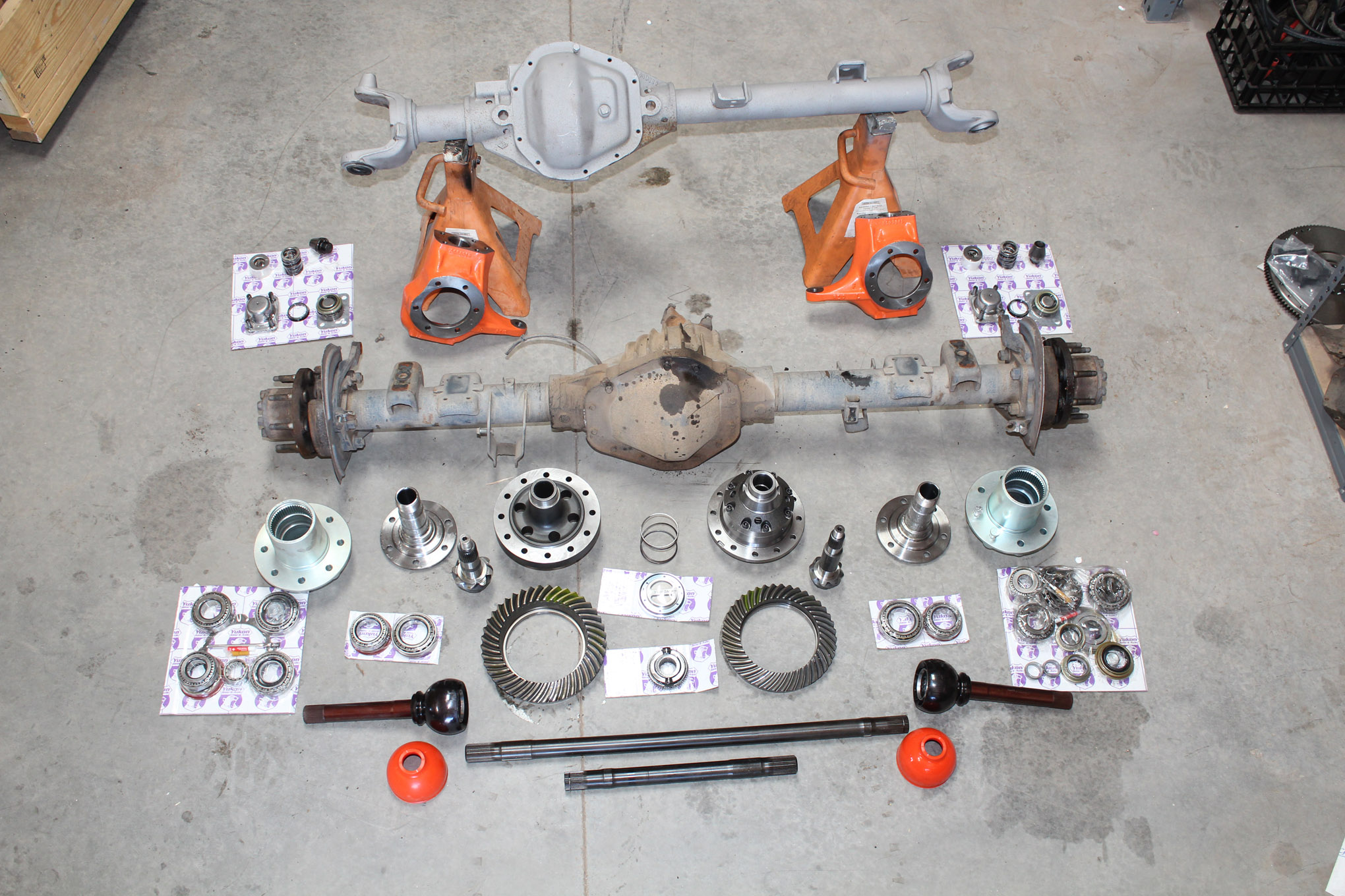 """Other key pieces of any 4x4 include the axles, and with 38s or 39s in the plans, only 1-tons would offer anything approaching reliability. Some horse trading netted a bare Chevy Dana 60 front housing, which I filled with 4.88s and a Grizzly locker from Yukon, as well as RCV shafts and Reid Racing knuckles. This is all A-team stuff, and I'll be surprised if I ever have any issues out of the frontend. The details on this and the rear axle build are also on the Four Wheeler Network: <a href=""""http://www.fourwheeler.com/how-to/transmission-drivetrain/1805-bulletproof-one-tons-for-pugsley-the-scout/"""" title="""""""" target=""""_blank"""">bit.ly/2Fnvqxz</a>."""
