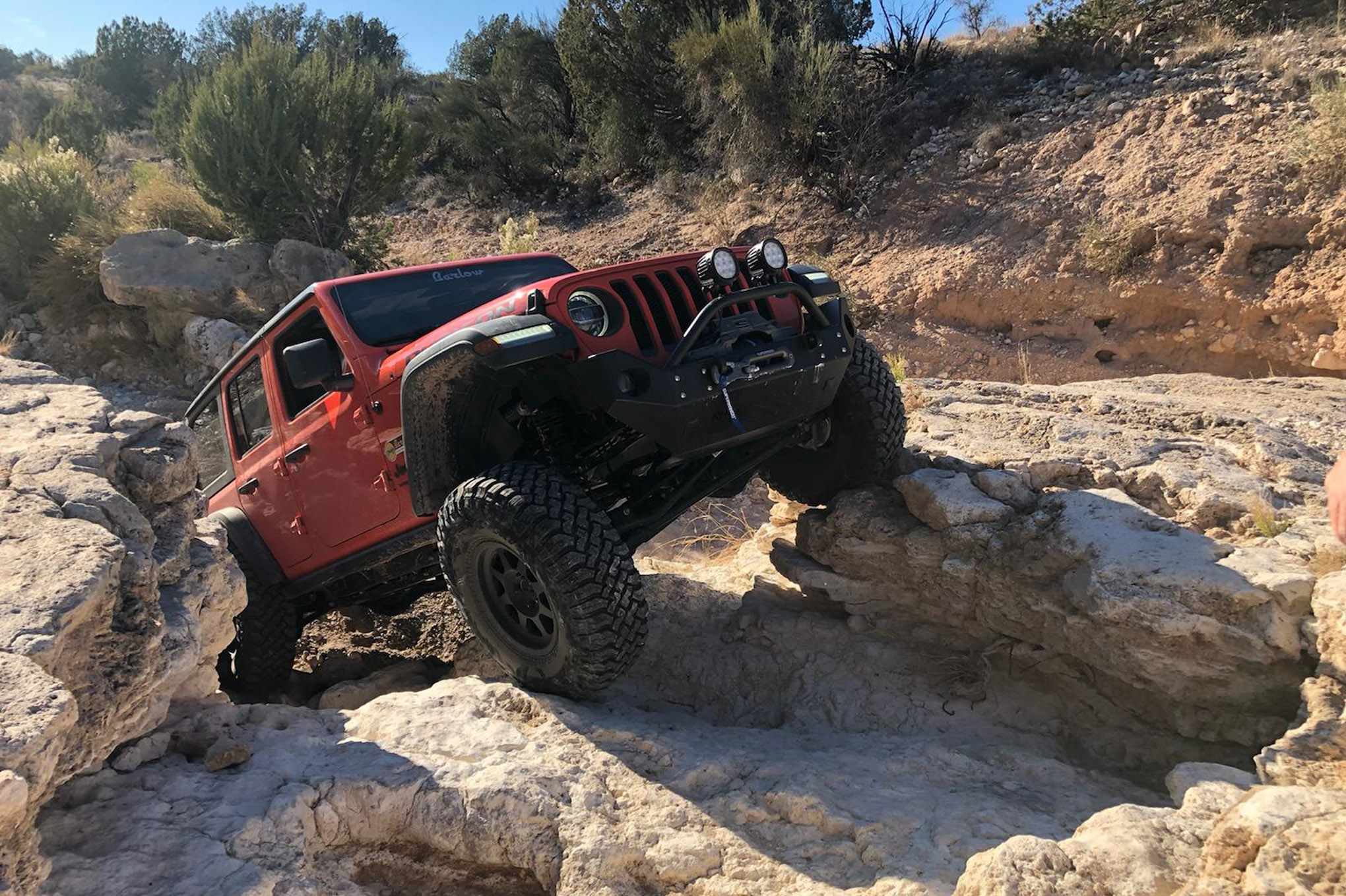 Here are some gratuitous rockcrawling shots. The eTorque provides smooth and steady power, and no turbo lag when climbing over the big rocks. <br> <em>Photo by Sierra Palmer. </em>