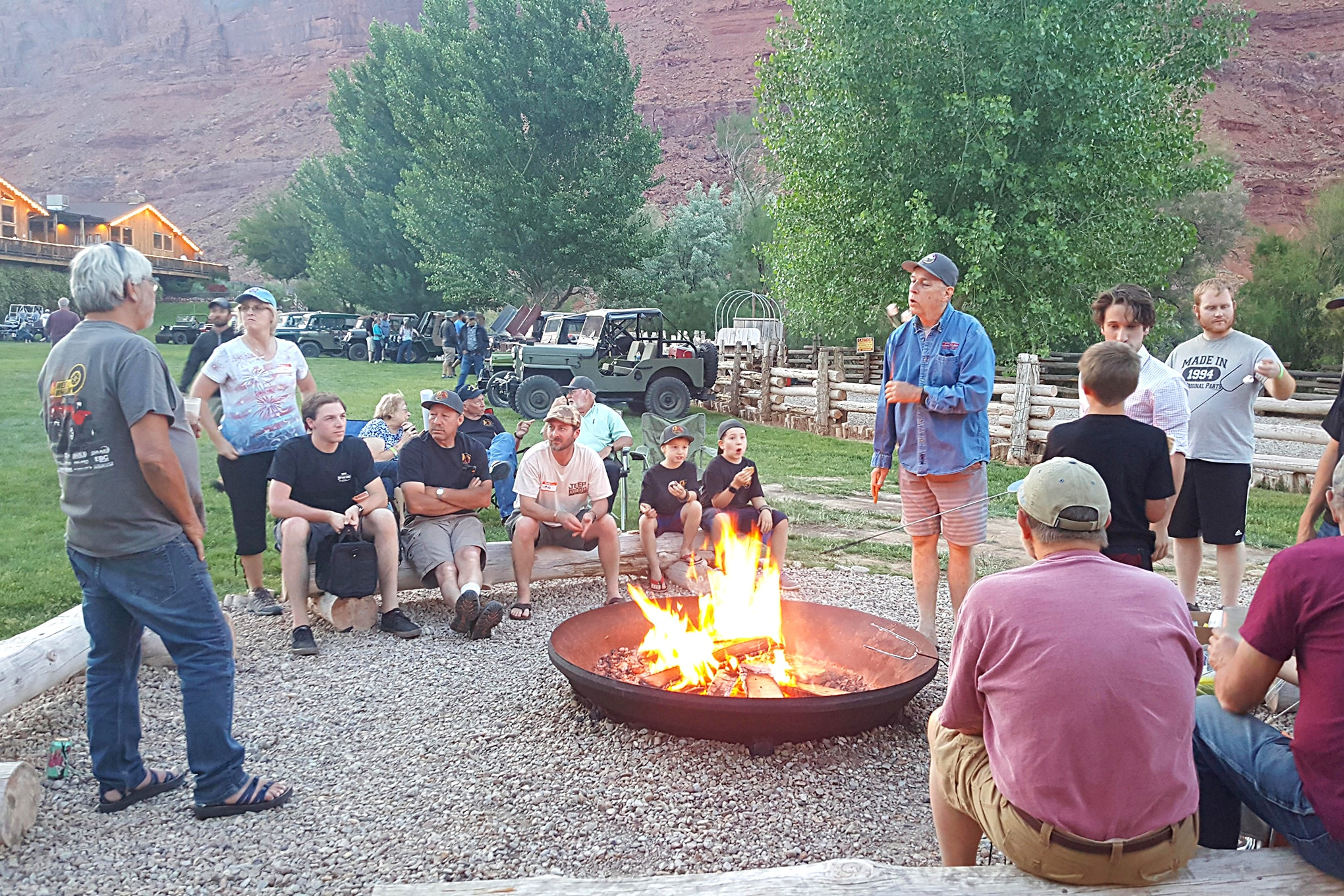 <em>Jp Magazine</em> Editor Rick Péwé gives a Willys-related fireside chat after dinner and the raffle on Saturday evening. It's great to see so many young folks out there to learn about the history of this old iron.