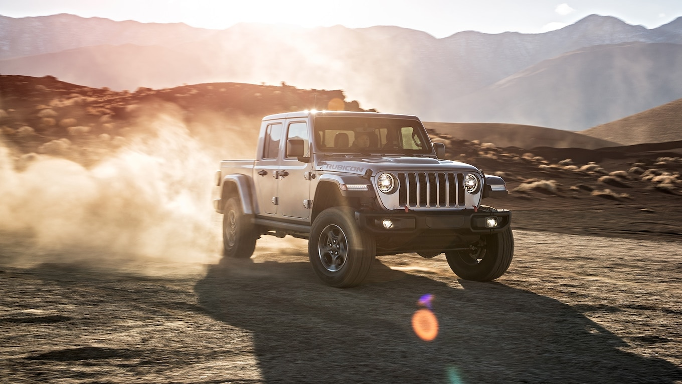 2020 Jeep Gladiator Rubicon front side motion view dirt