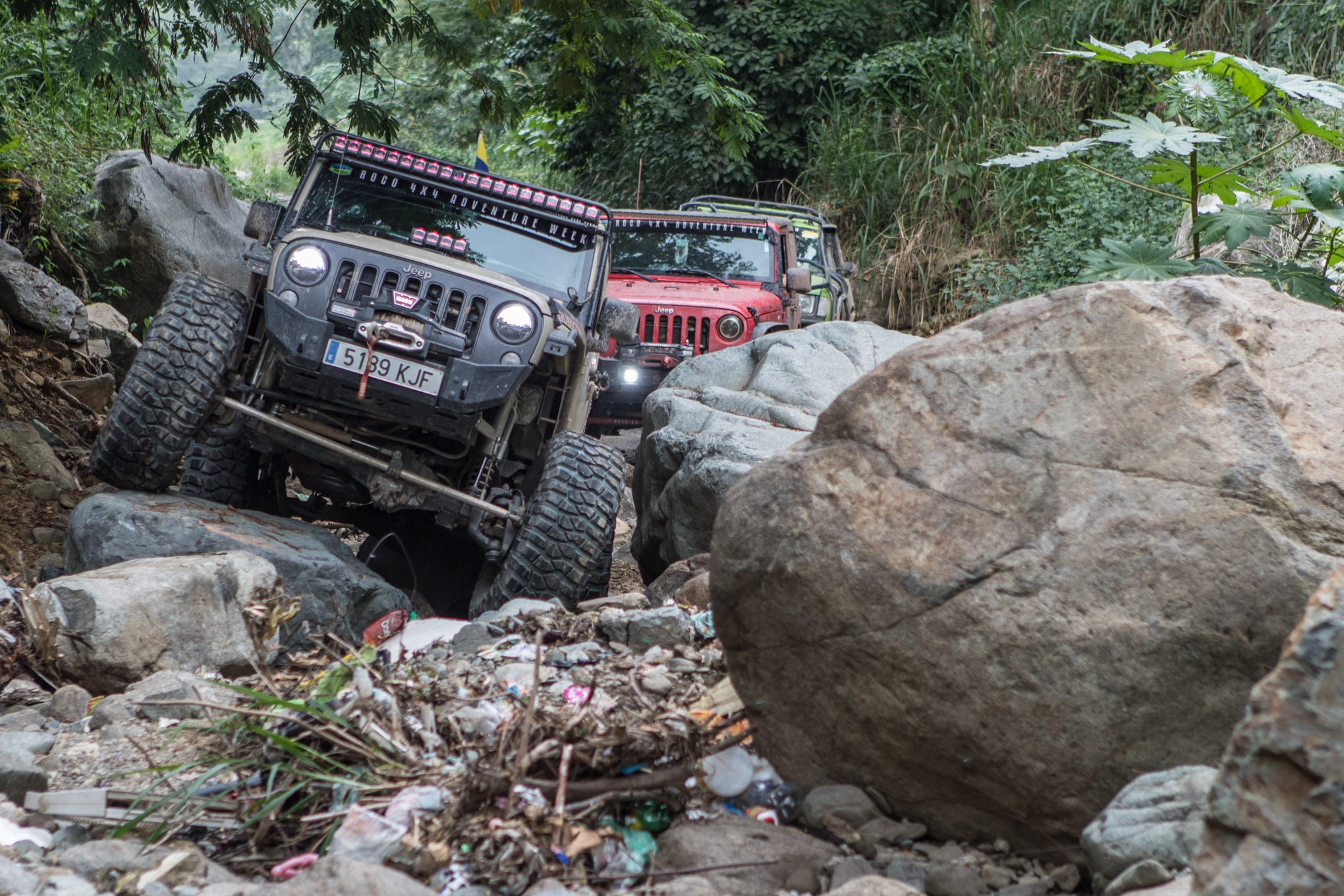 Urban wheeling usually involved concrete and steel, not trash. This rocky ravine serves as a waterway during flash floods, but it also serves as a dumping ground for the surrounding area. Poorer regions of Honduras don't have any trash service, so garbage on the ground was pervasive.