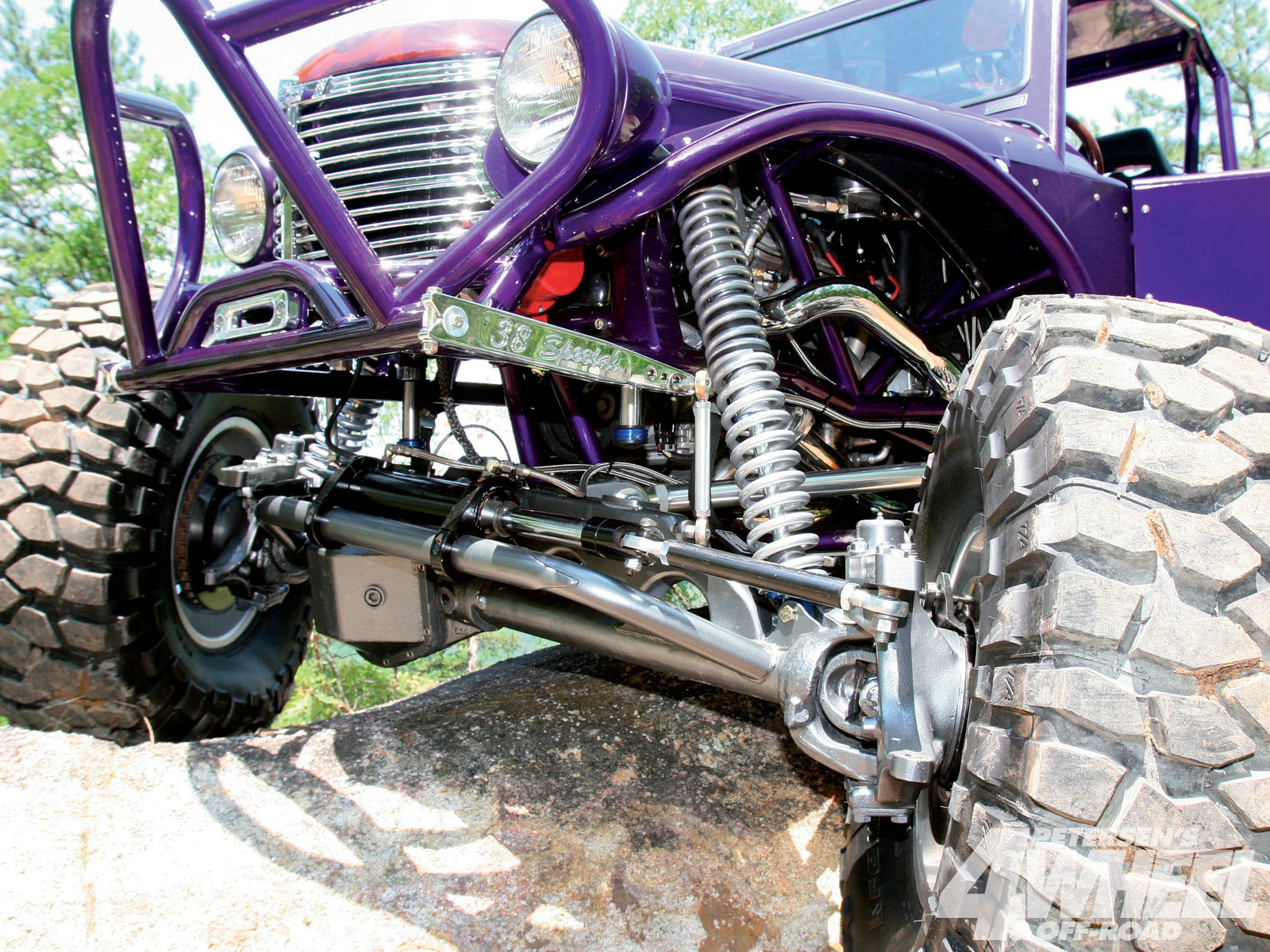 Front and rear steering 60s help John's flashy trail rig weave around paint-gashing rocks and trees and earned a Best Engineered trophy from a local car show. The narrow stock Chevy front clip and dovetailed bed simply lend themselves to a custom trail rig.