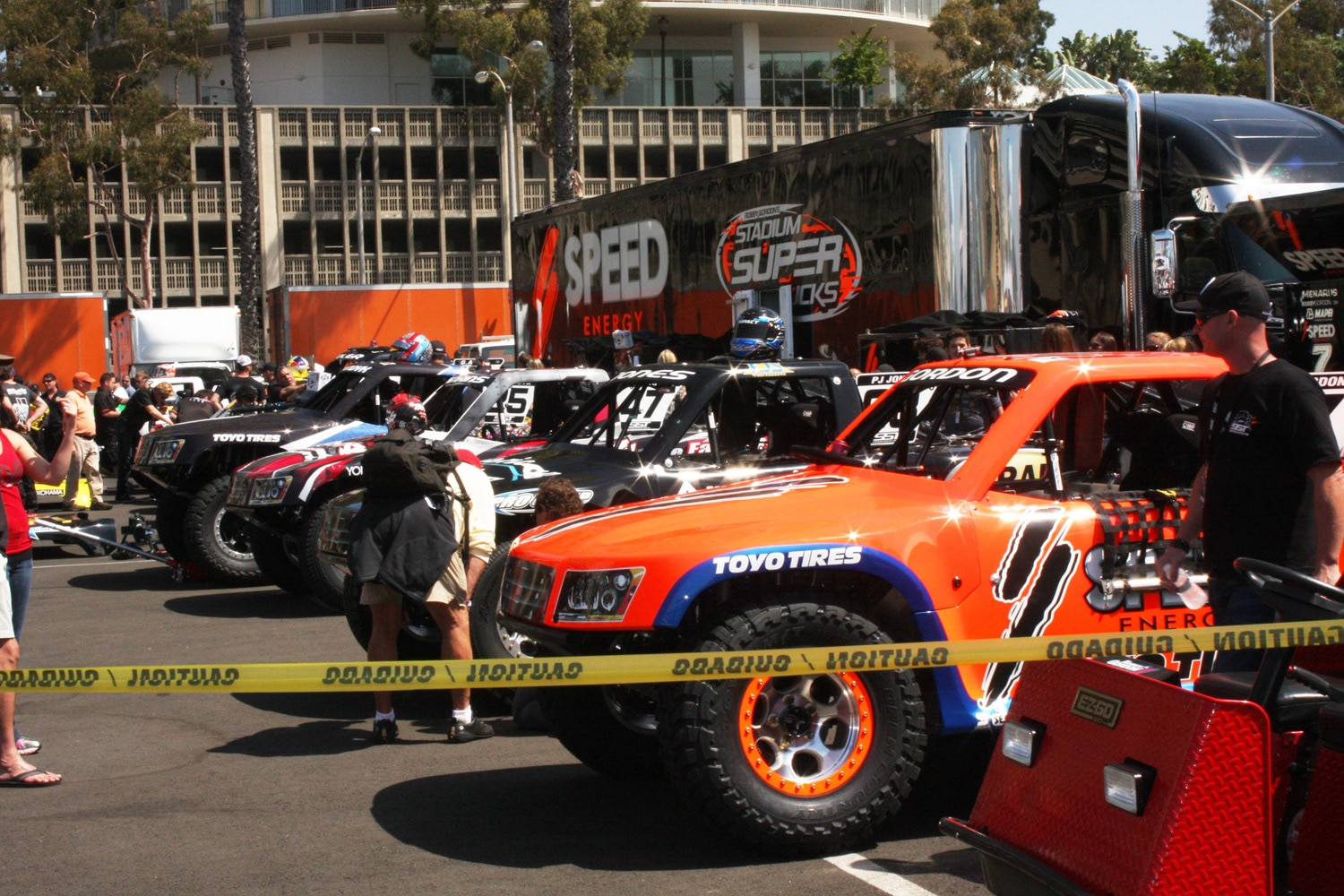 1304OR 09+Robby Gordon SST Stadium Super Trucks 2013 Long Beach Grand Prix pits