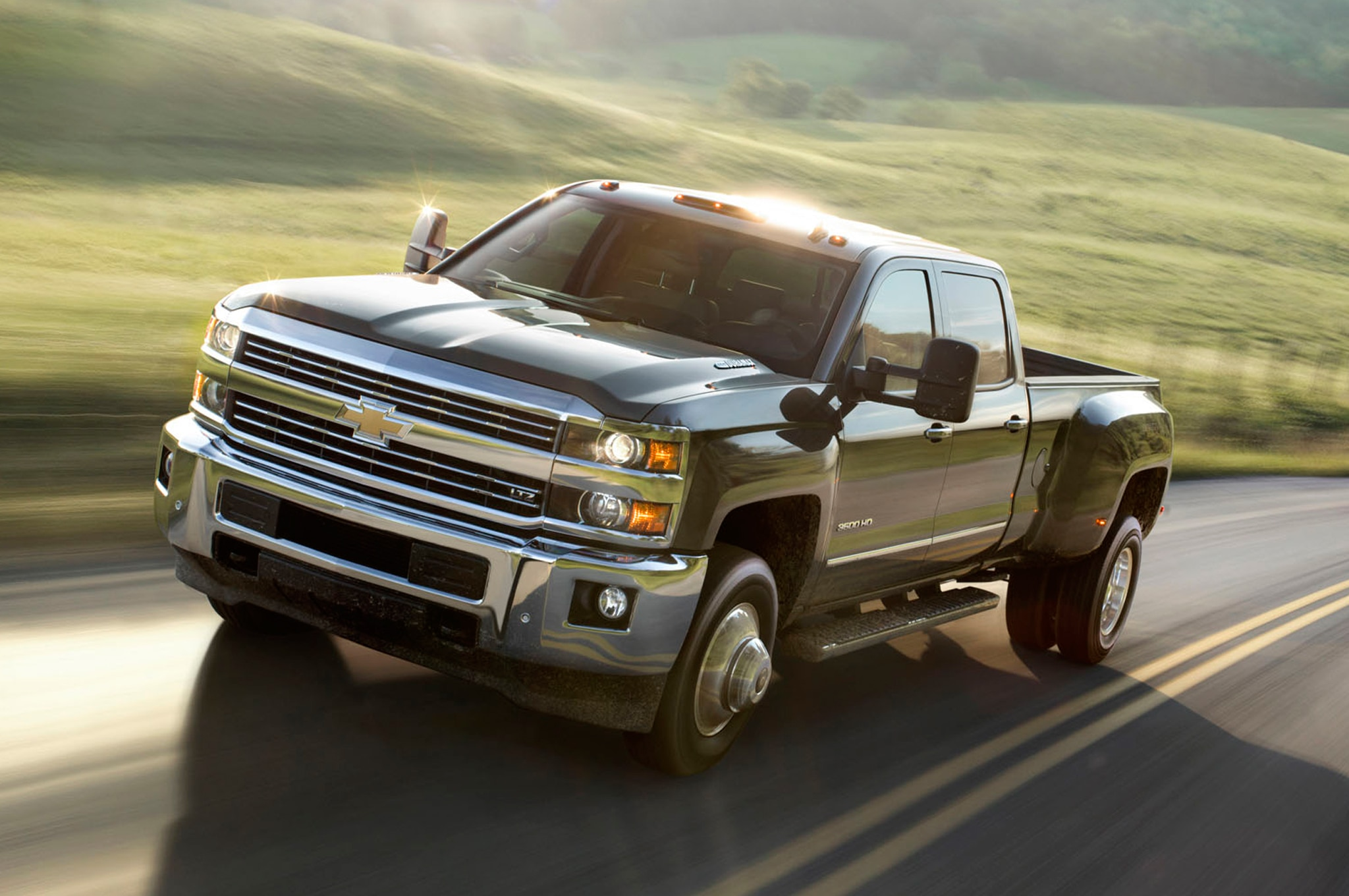 2015 Chevrolet Silverado 3500HD front three quarters in motion